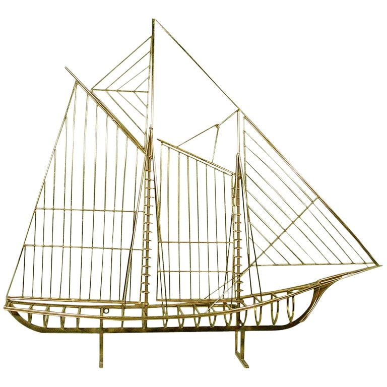 """Curtis Jere """"Skeleton"""" Sailboat Wall Sculpture in Brass"""