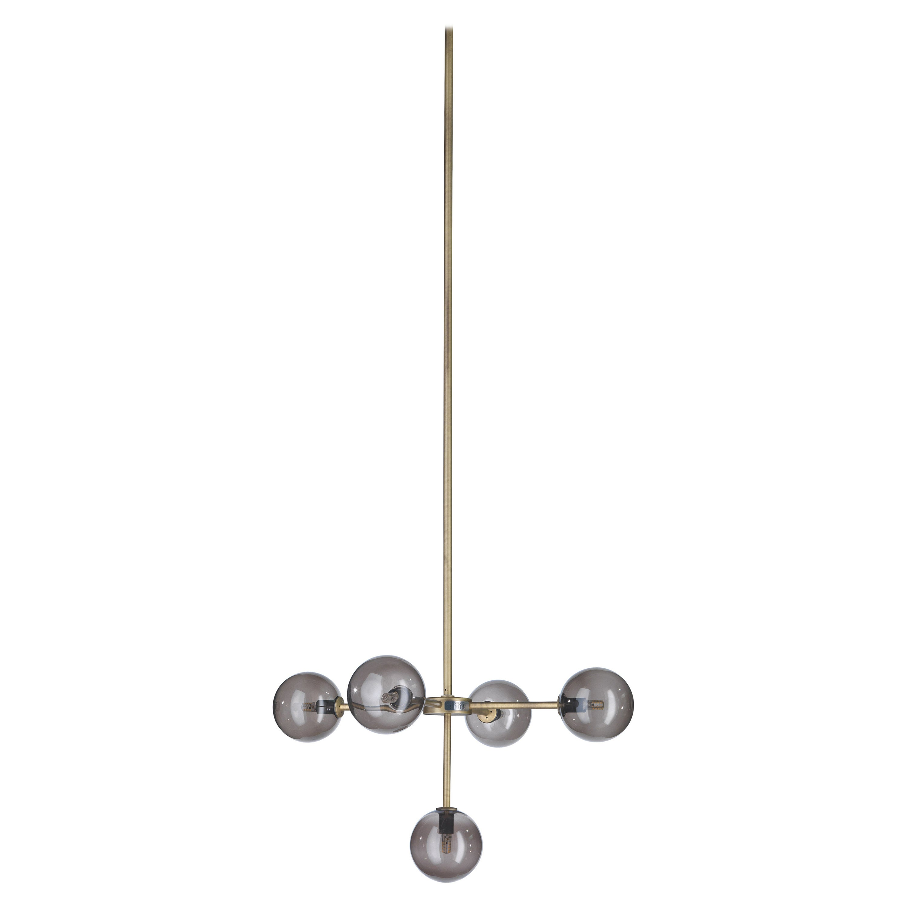 Gianfranco Ferré Home Douglas Chandelier in Brass and Glass Shade