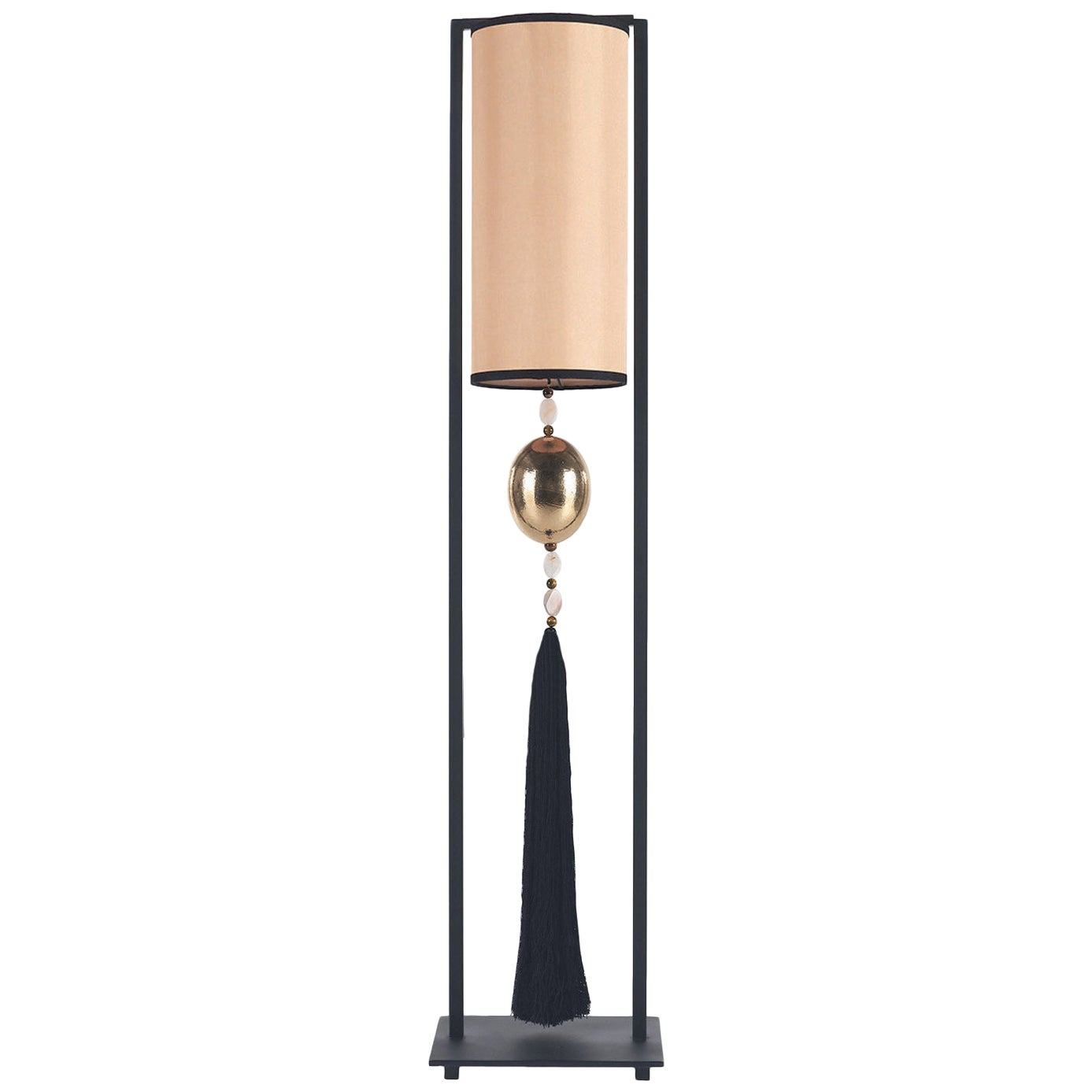 Gianfranco Ferré Home Brenda_2 Table Lamp in Matte Black Iron and Satin Shade