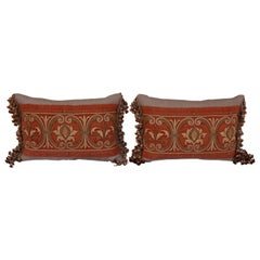 Pair of Antique Rust Velvet Metallic Embroidered Pillows by Melissa Levinson