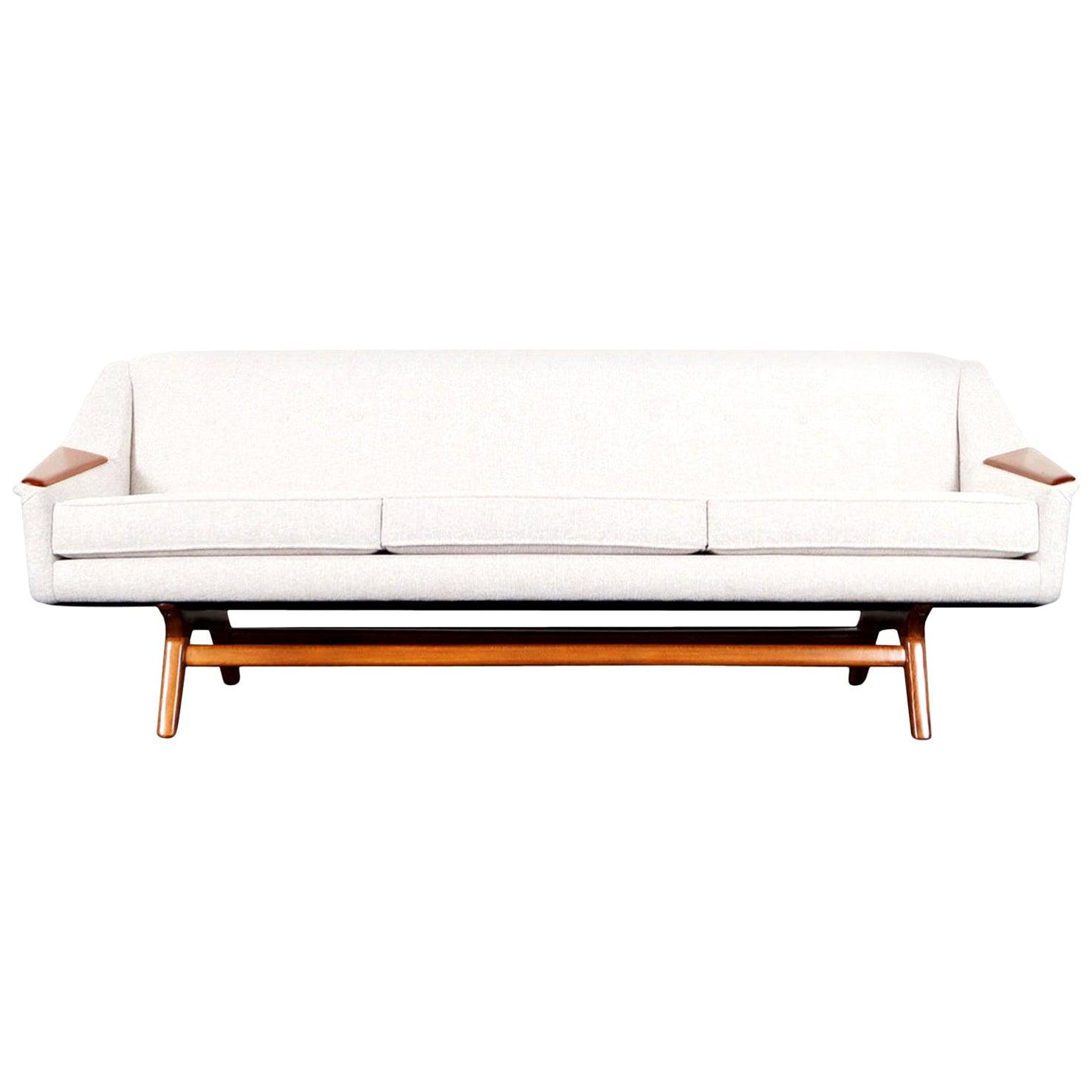 "Danish Modern Walnut ""Wing"" Sofa"