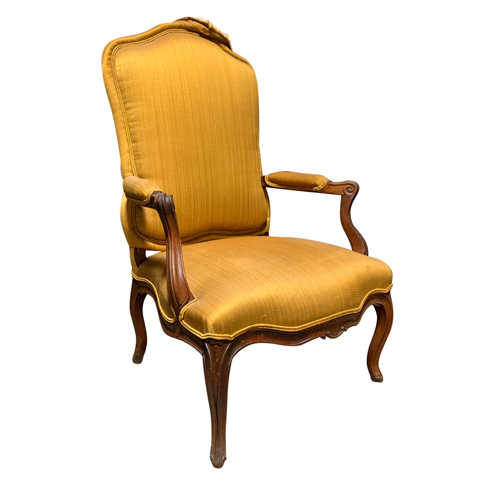 19th Century French Louis XV Style Armchair, Yellow Upholstery