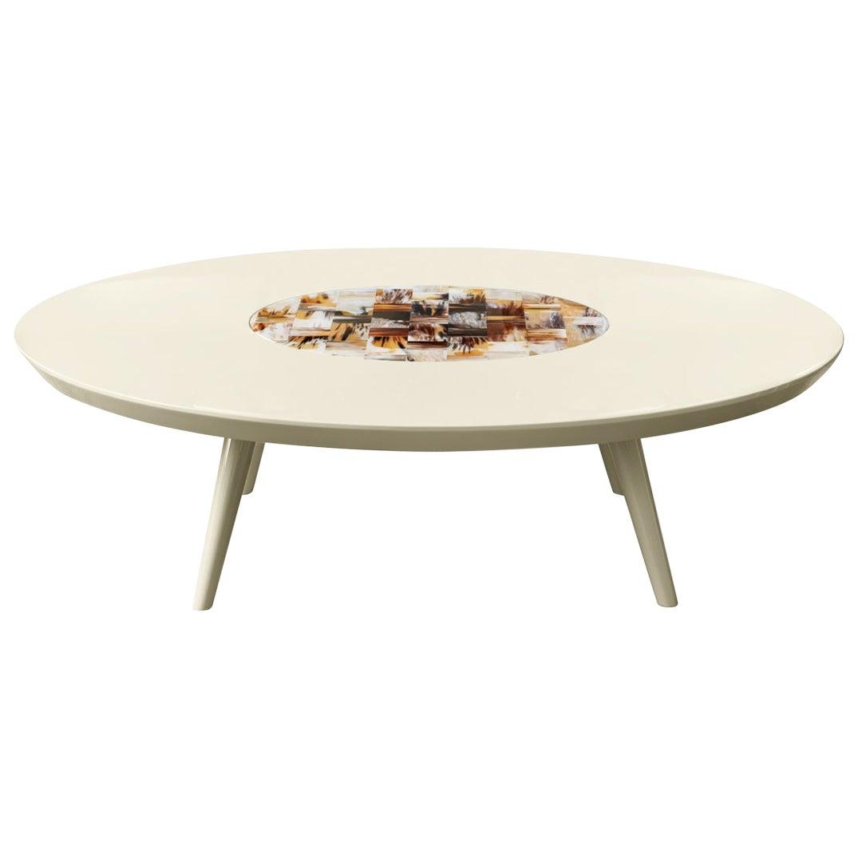 Sibari Coffee Table in Lacquered Wood with Corno Italiano Inlay, Mod. 4878