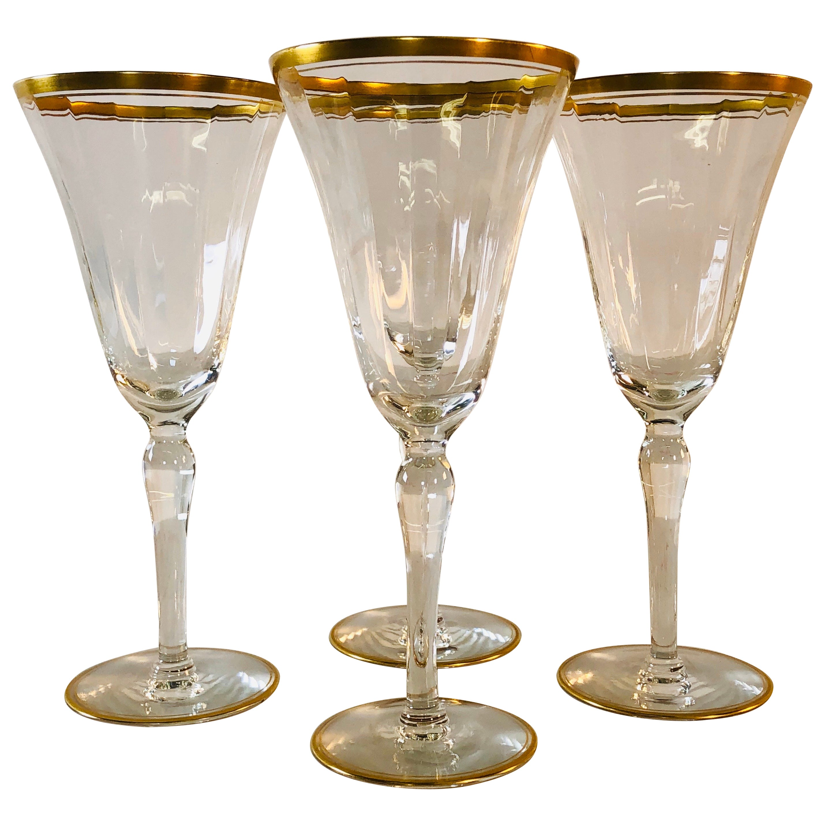 Hollywood Regency Double Gold Rim Champagne Stems, Set of 4