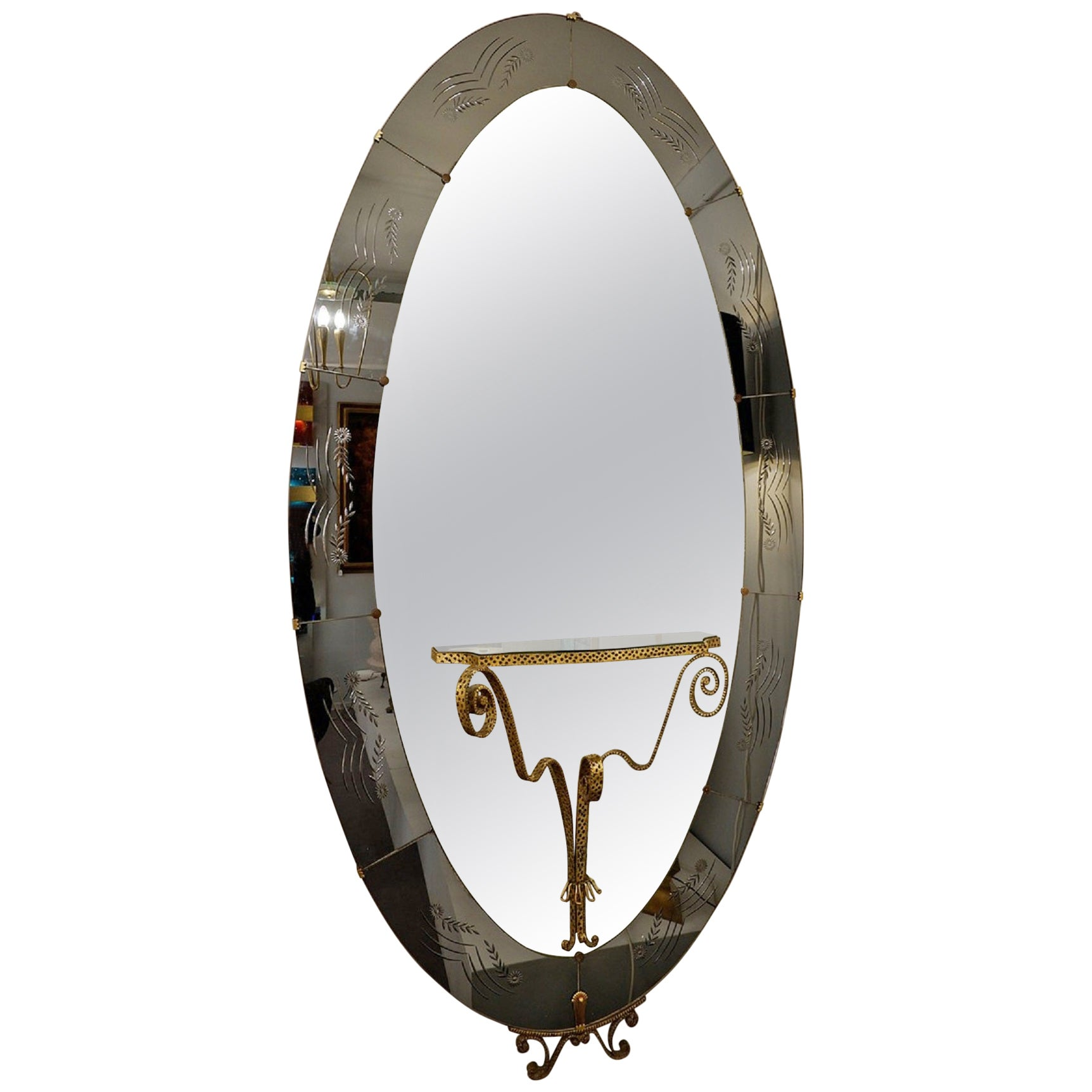 Cristal Art Mirror with Console Attributed to Luigi Colli, Italy, 1950s