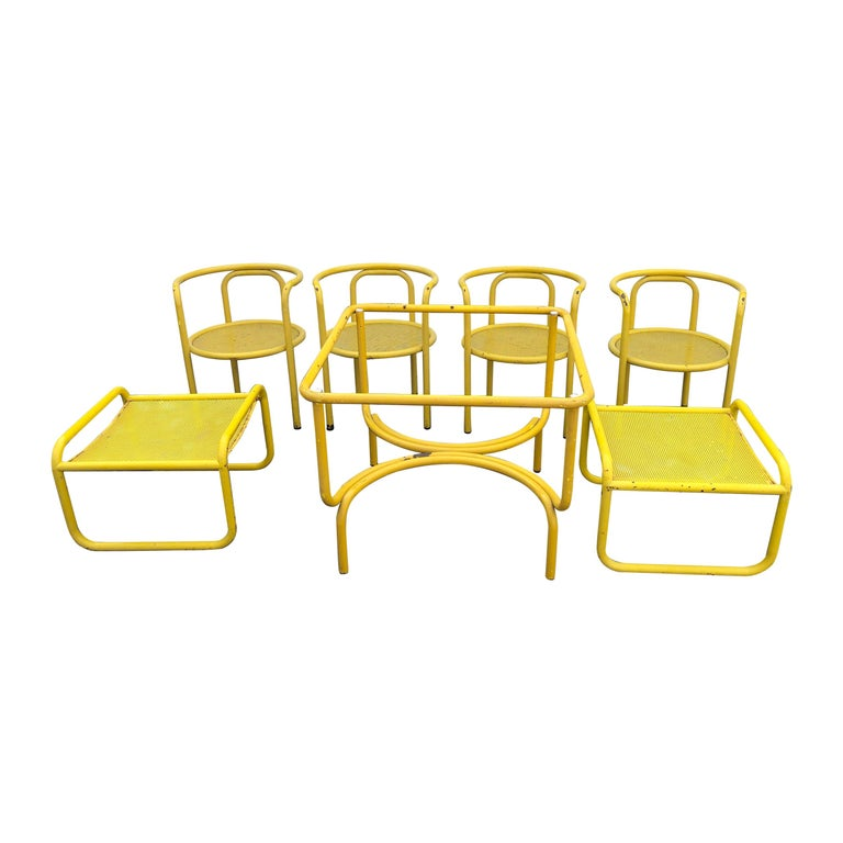 Gae Aulenti Locus Solus Garden Table and Four Chairs Plus Two Ottomans For Sale