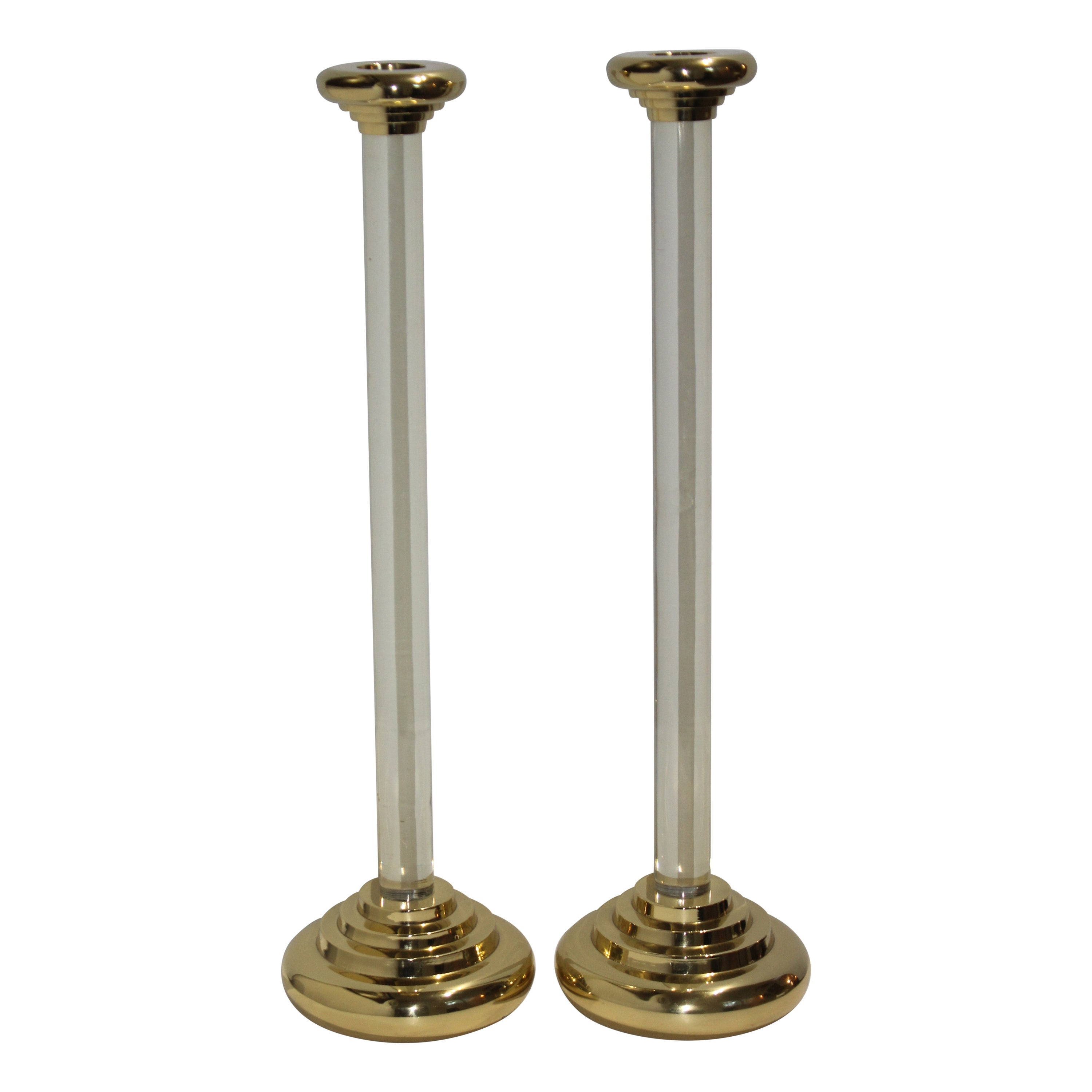 Karl Springer Style Brass and Lucite Candlesticks