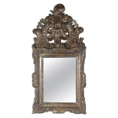 Period Dutch Baroque Silver Gilt Carved Wood Mirror