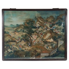 Chinese Late 18th Century Reverse Painting on Glass in its Original Frame