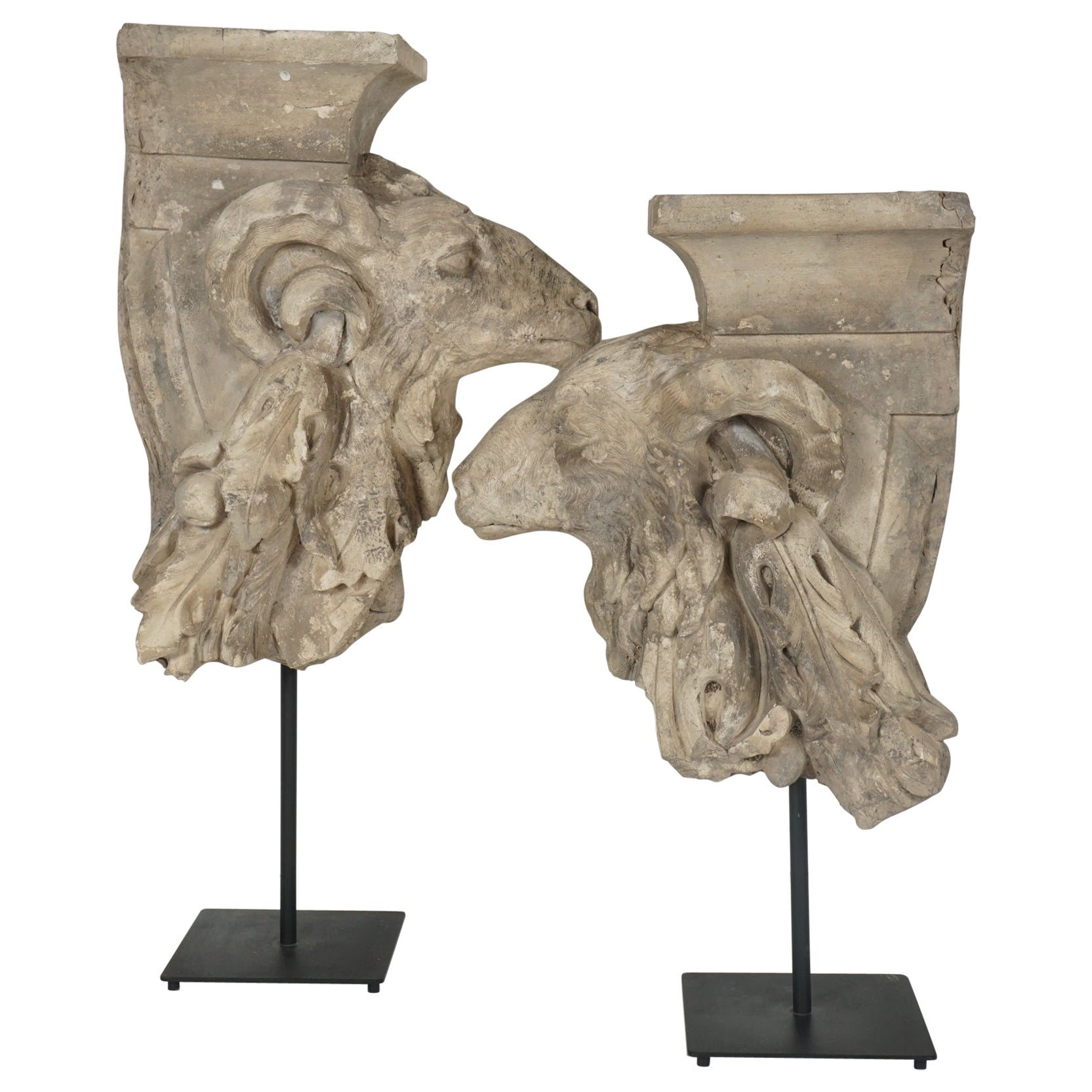 Pair of Addorsed 18th Century French Terracotta Architectural Fragments