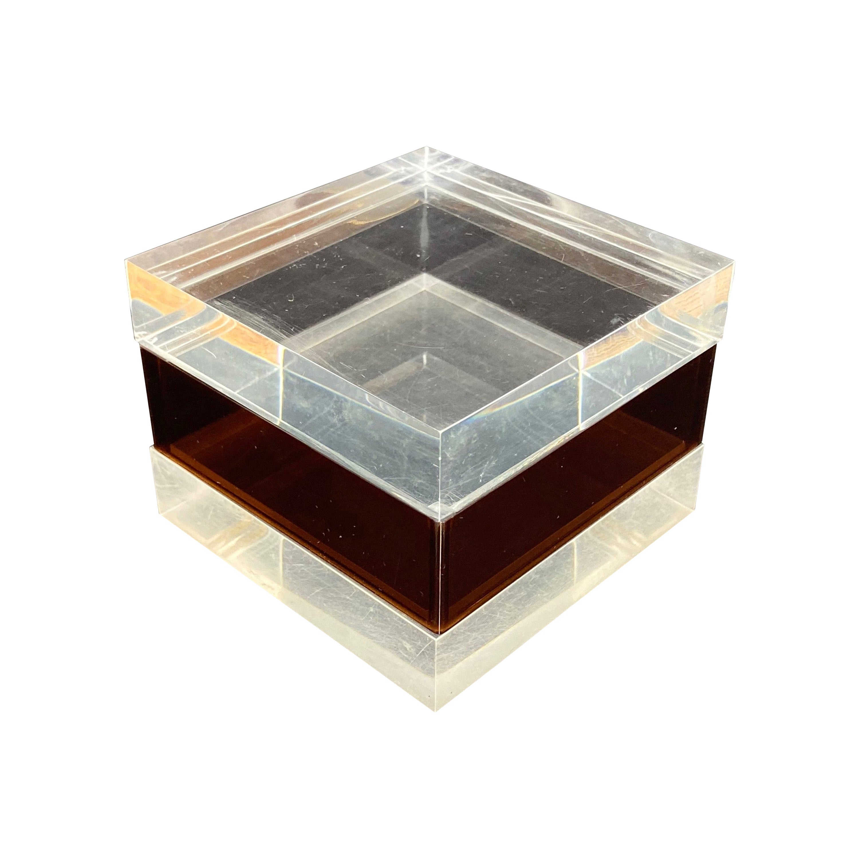 Cube Box in Lucite Alessandro Albrizzi Style, Italy, Mid-Century Modern, 1970s
