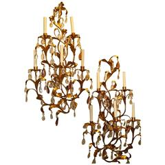 Pair of Large Gilt Metal Sconces