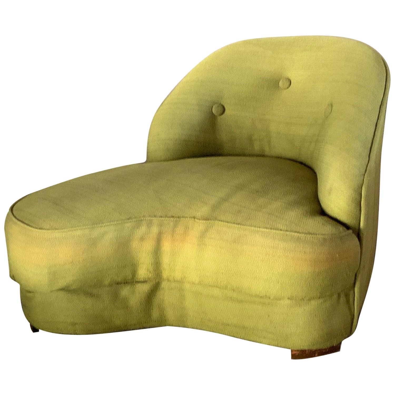 Unusual Biomorphic Chaise circa 1940s Hollywood Regency