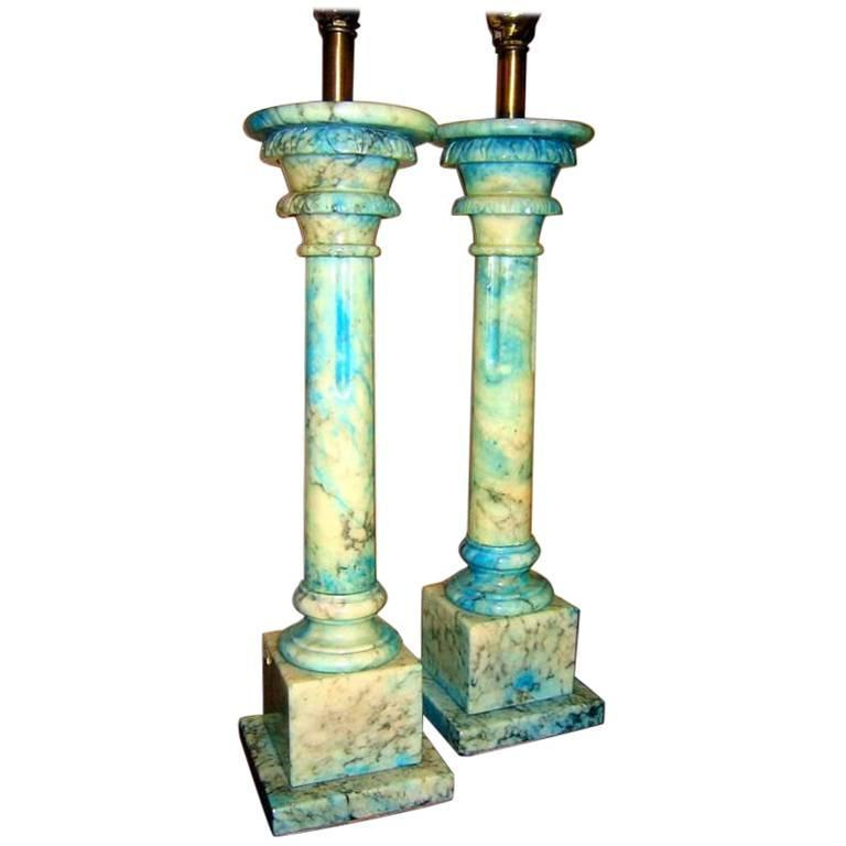 Carved Alabaster Lamps