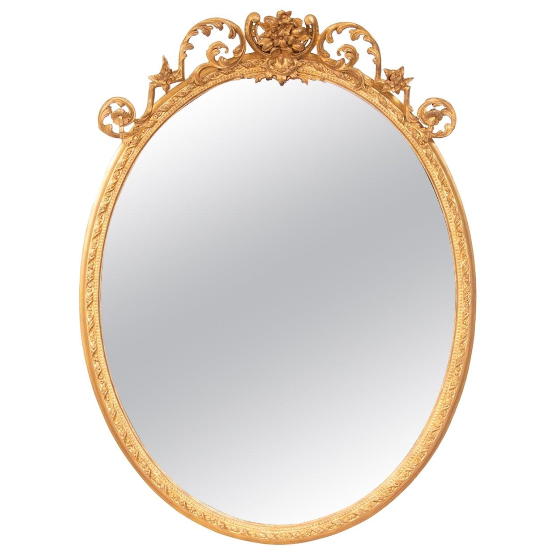 Antique Gilded Oval wall Mirror, circa 1820