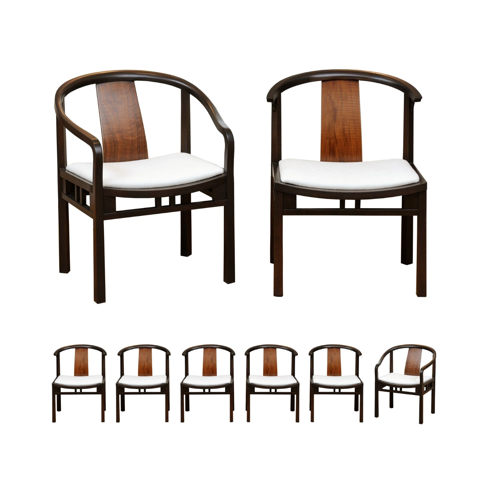 Circa 1955, Stellar Set of 8 Walnut Dining Chairs by Michael Taylor for Baker