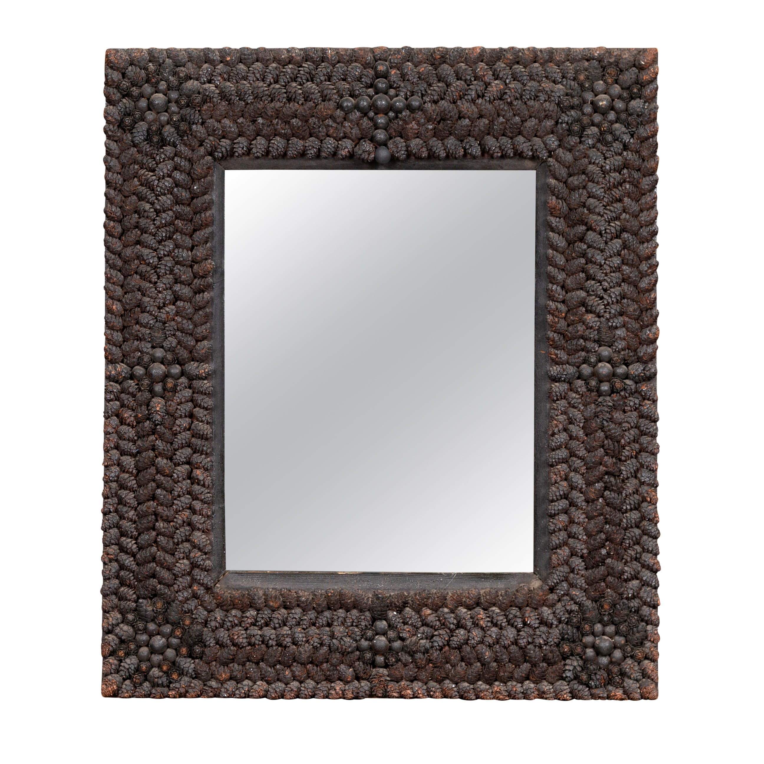 French 1920s Pinecone Mirror with Dark Patina and Floral Motifs