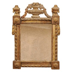 Louis XVI Period Giltwood Mirror with Urn Crest, France ca. 1790