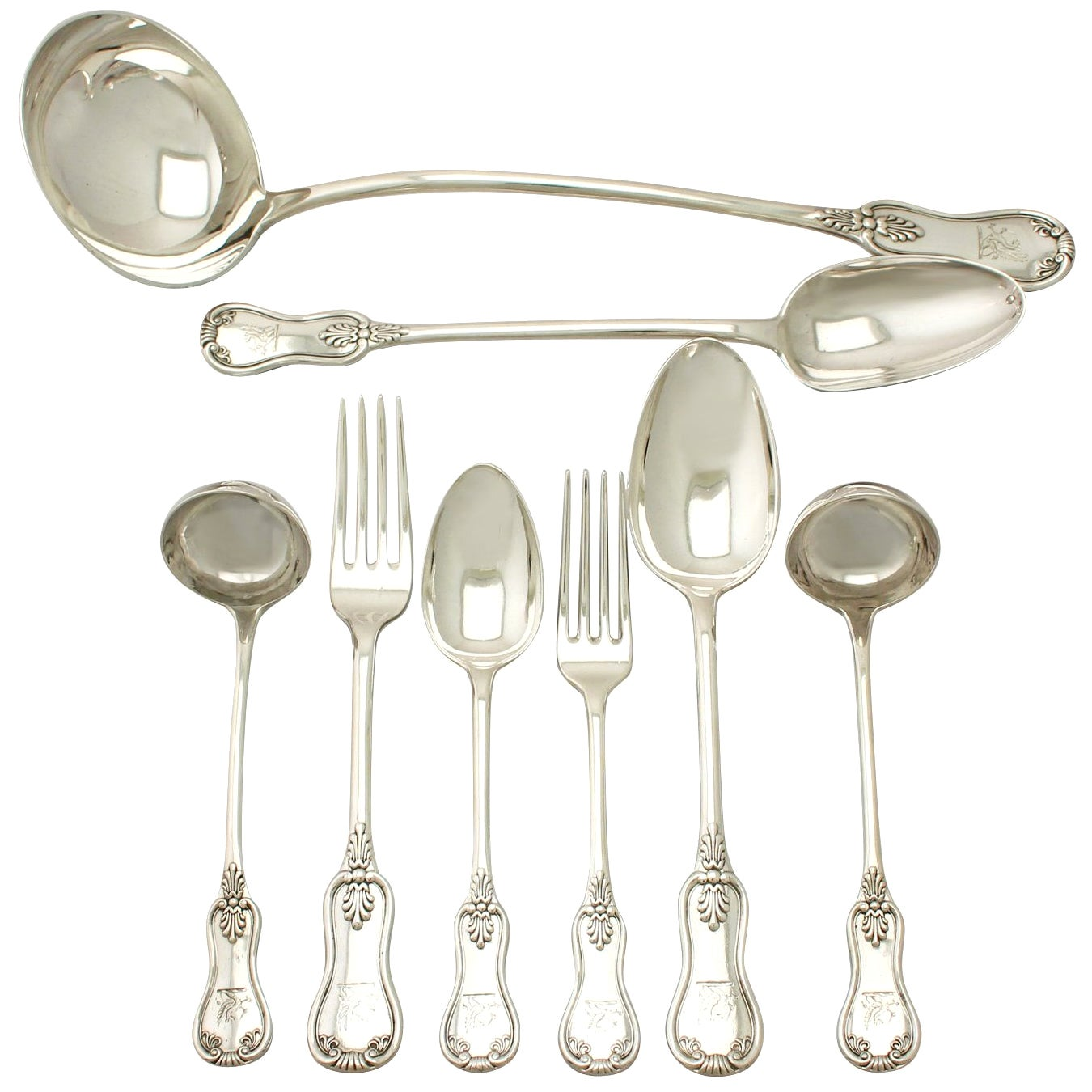 Antique Victorian Scottish Sterling Silver Canteen of Cutlery for 12 Persons
