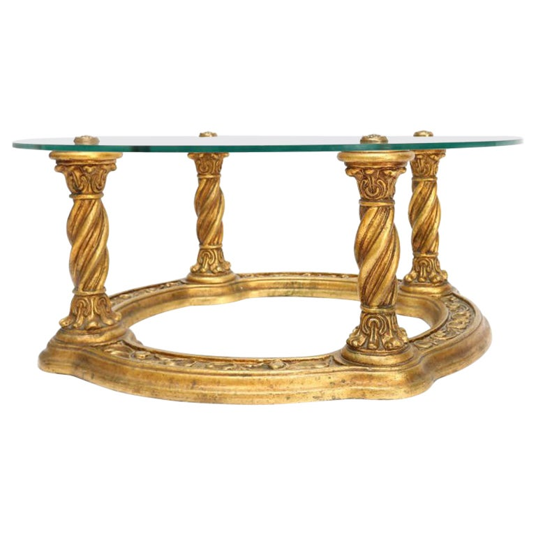 Hollywood Regency Carved Giltwood Coffee Table
