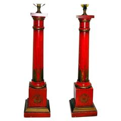 Pair of Red Carved Wood Lamps