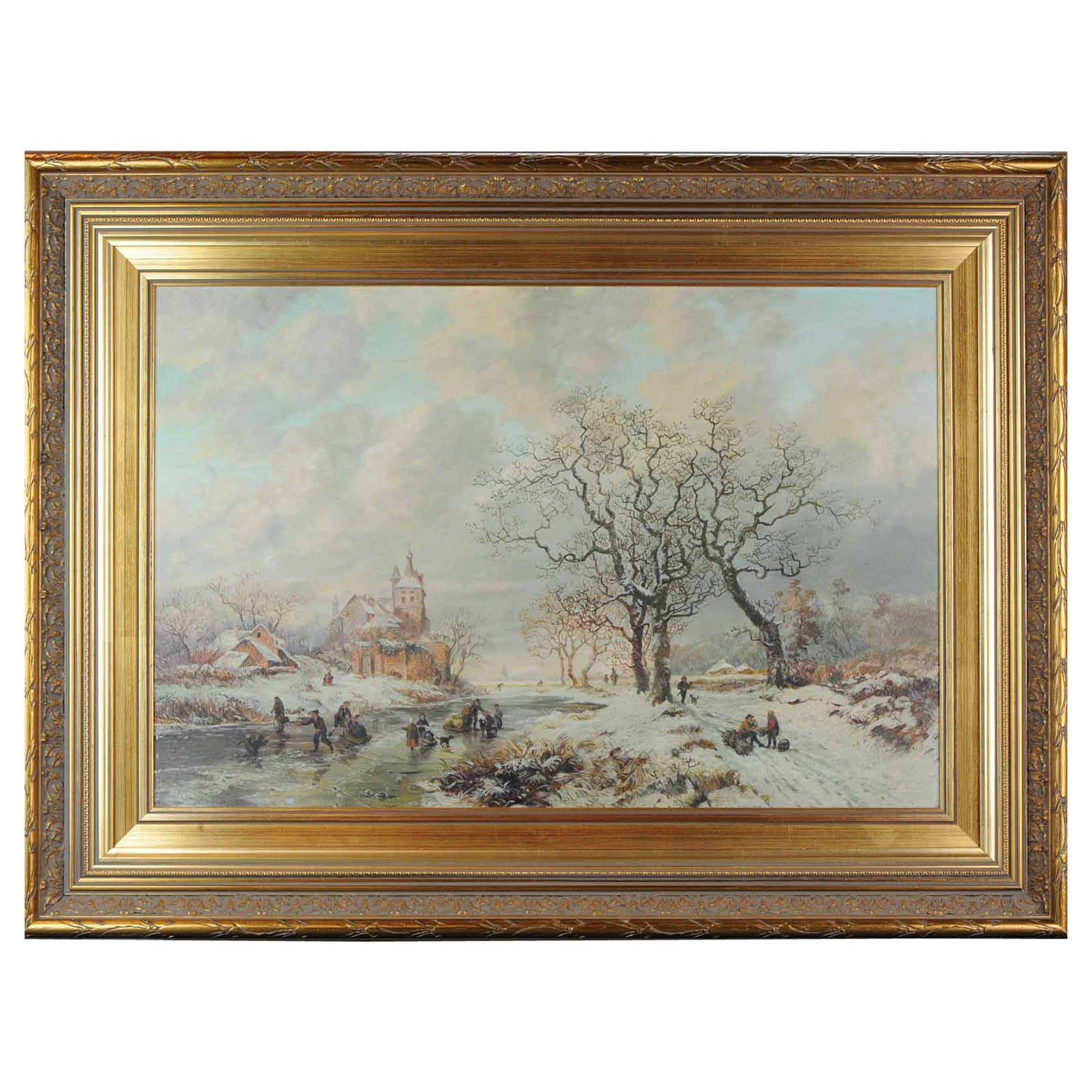 Lovely Painting Early 20th Century Dutch Winter Landscape in 17th Century Style