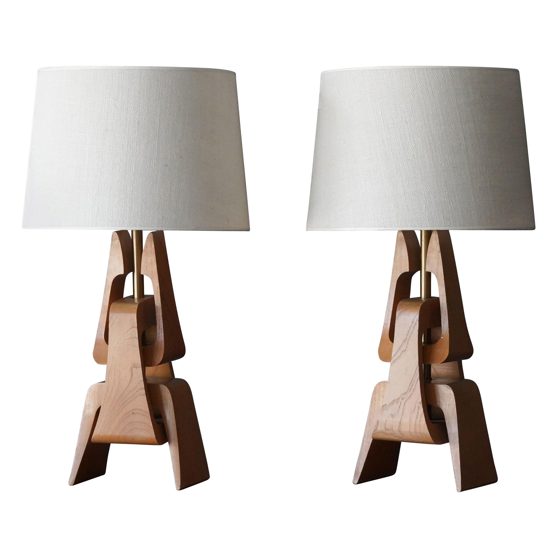 American Modernist Designer, Table Lamps, Oak, Brass, Fabric, America, 1950s