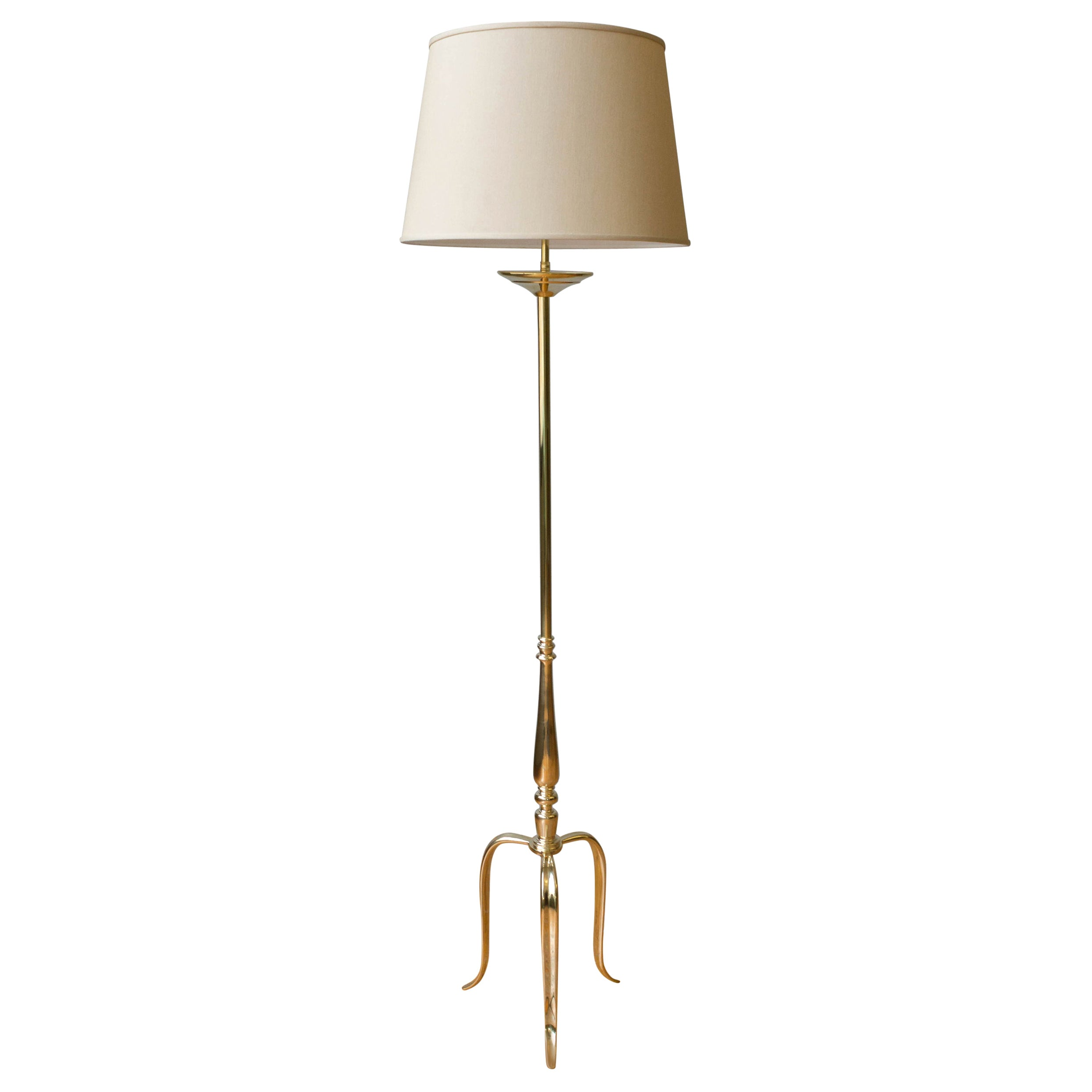 Polished Brass Floor Lamp with Tripod Base