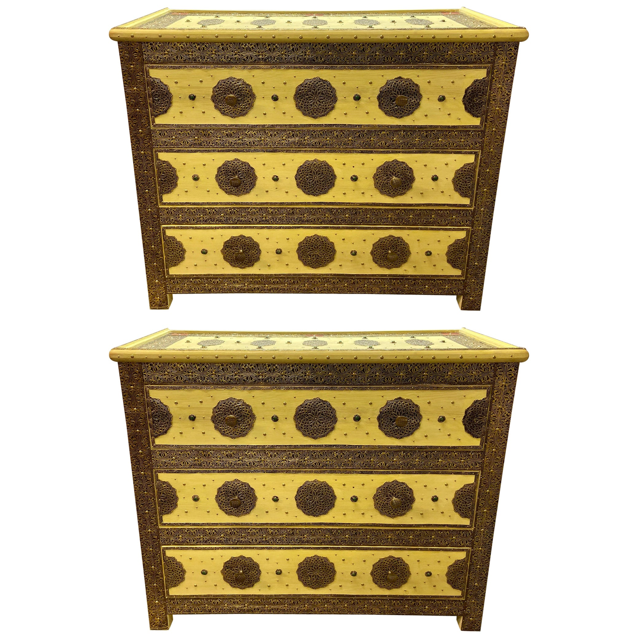 Three-Drawer Commodes, Chests or Nightstands in Hollywood Regency Style, a Pair