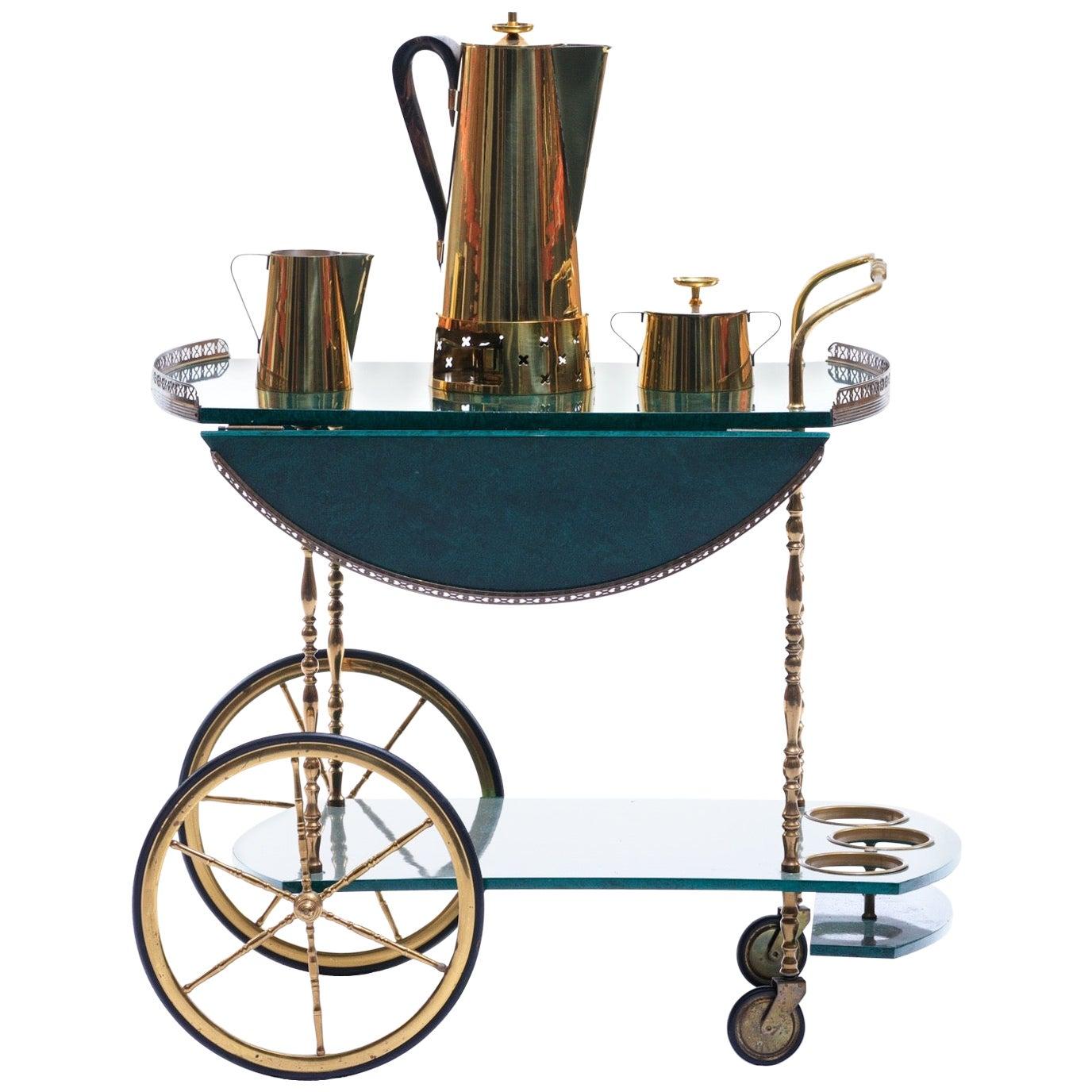 Tommi Parzinger for Dorlyn Silversmiths Brass Coffee / Tea Set