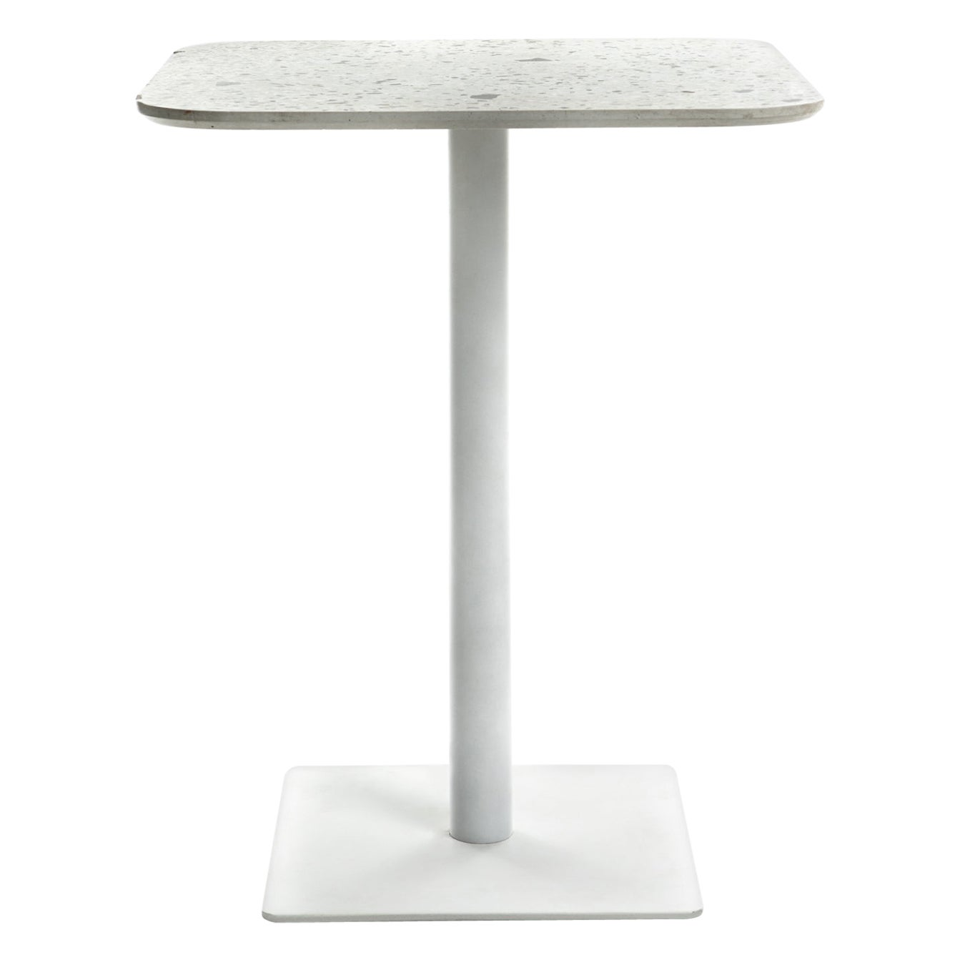 Square Dining Table 'I' in White Terrazzo