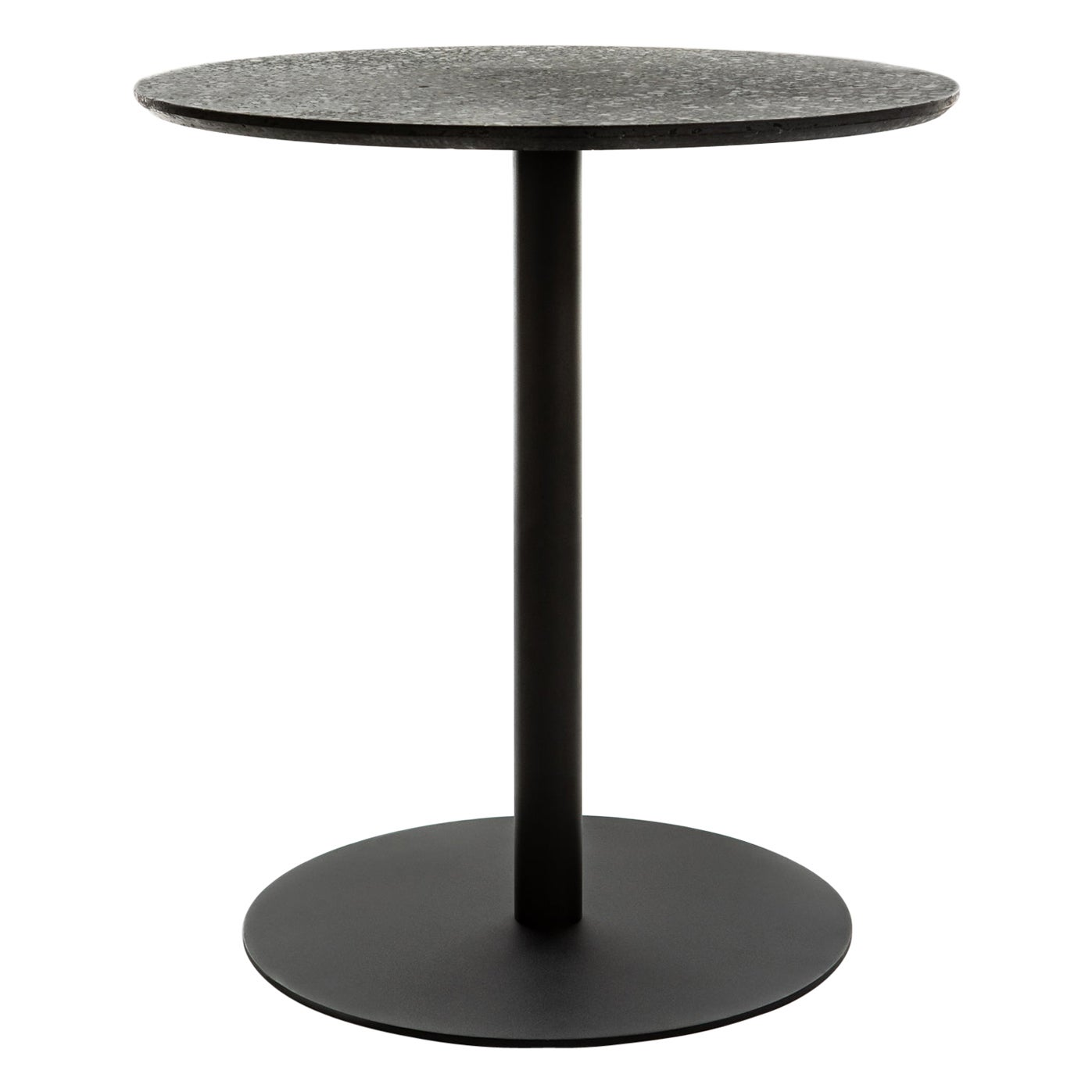 Round Dining Table 'I' in Black Terrazzo