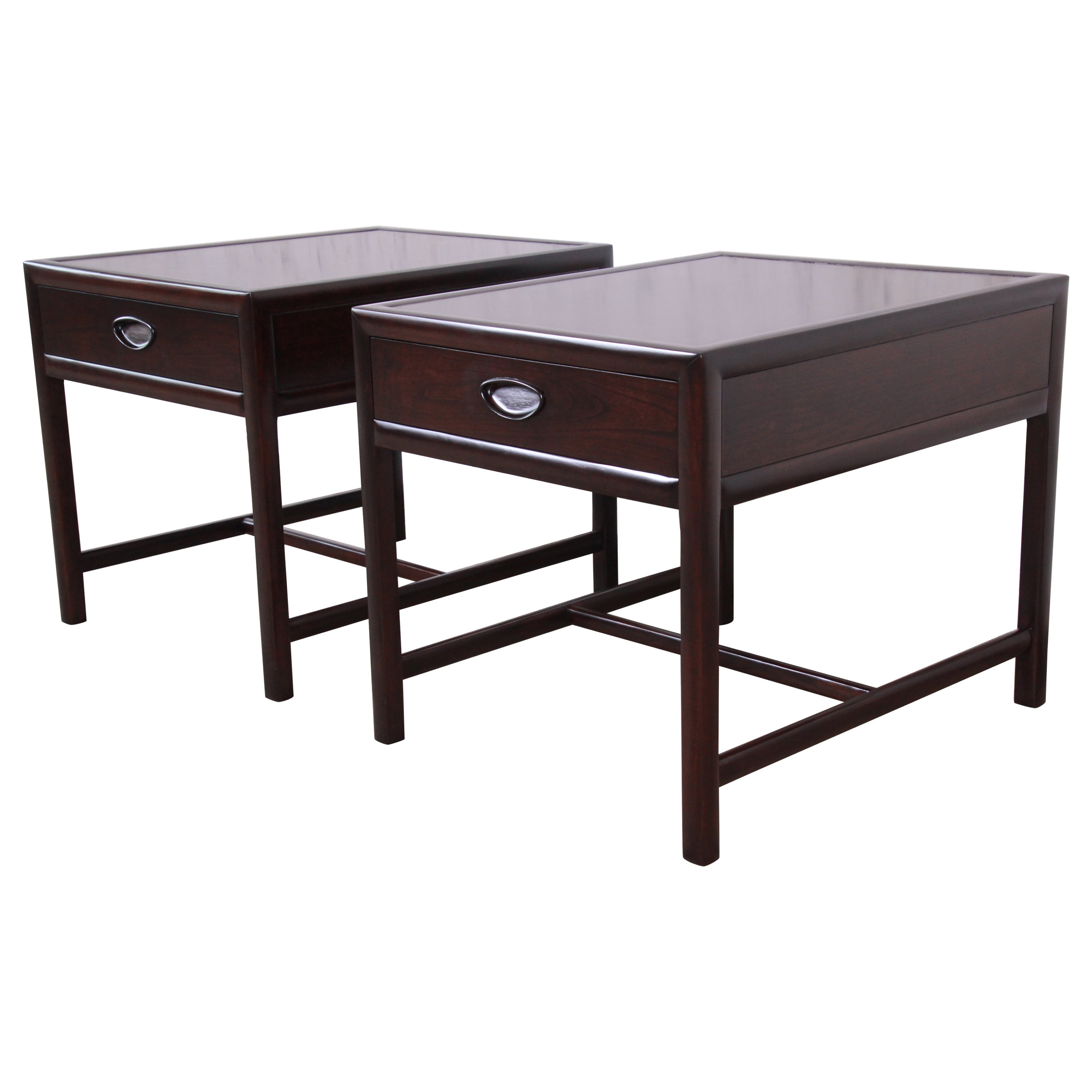 Michael Taylor for Baker Dark Cherry Nightstands or End Tables, Newly Restored