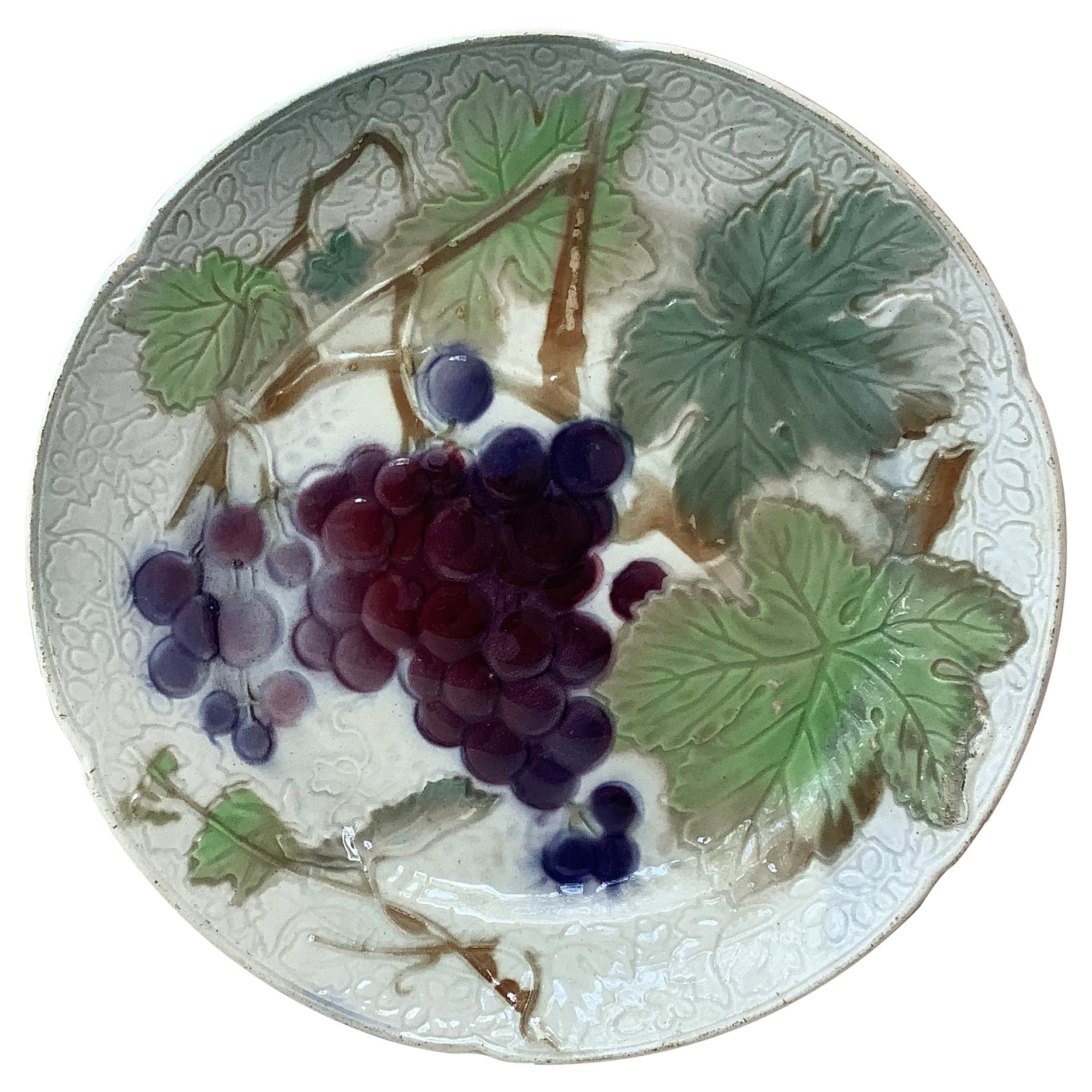 Majolica Grapes Plate Keller & Guerin Saint Clement