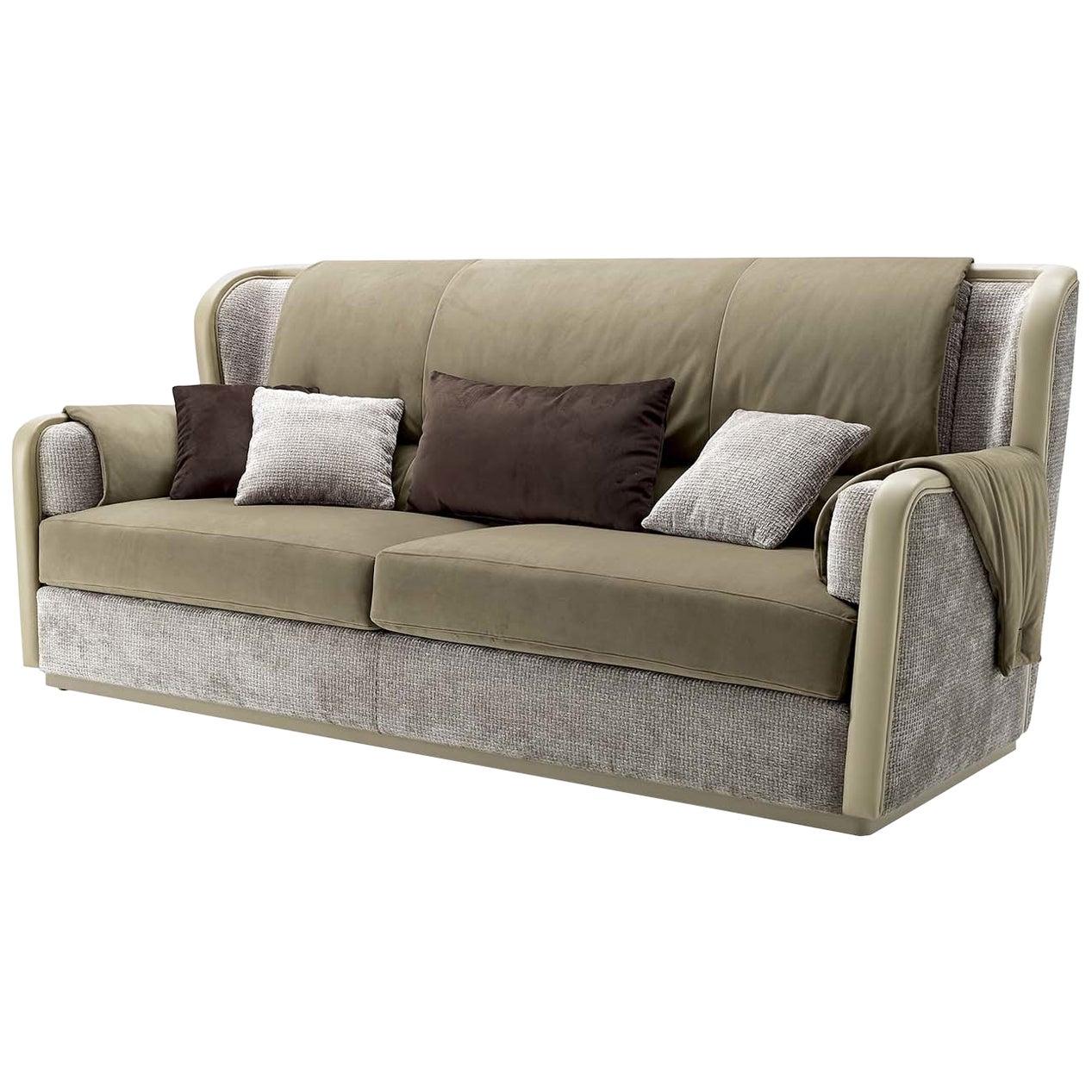 Beige Leather and Velvet 3-Seat Sofa