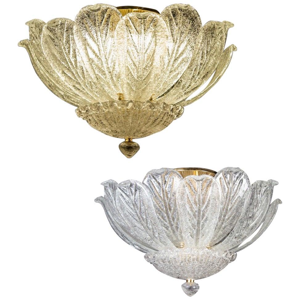 Pair of Italian Murano Glass Leave Flushmount or Ceiling Lights