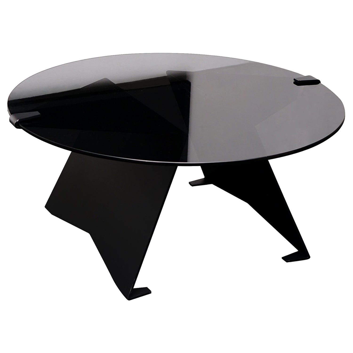Transparent Black Glass and Polished Stainless Steel Brass M-Table by ATRA