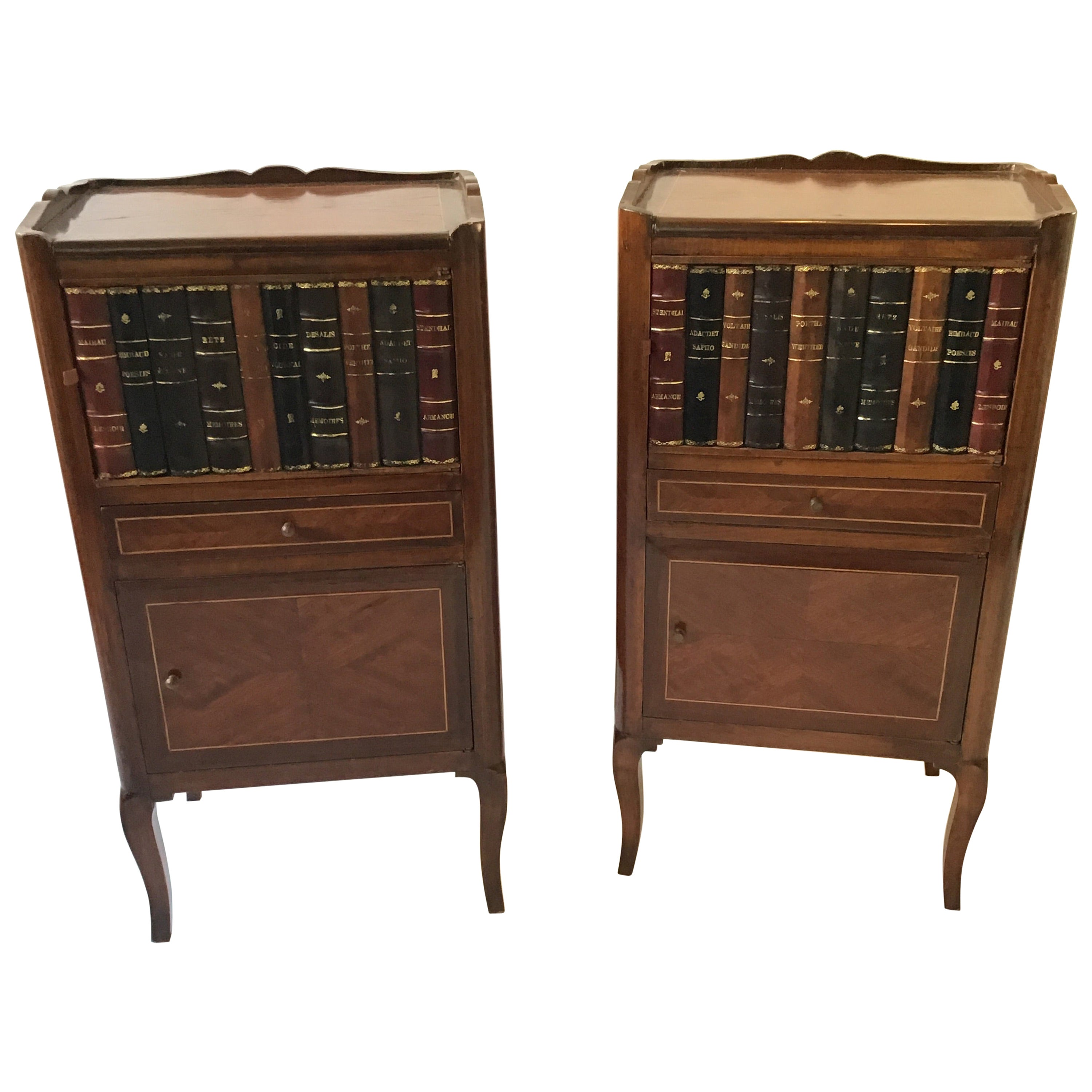 Pair of 1950s French Faux Book End Tables