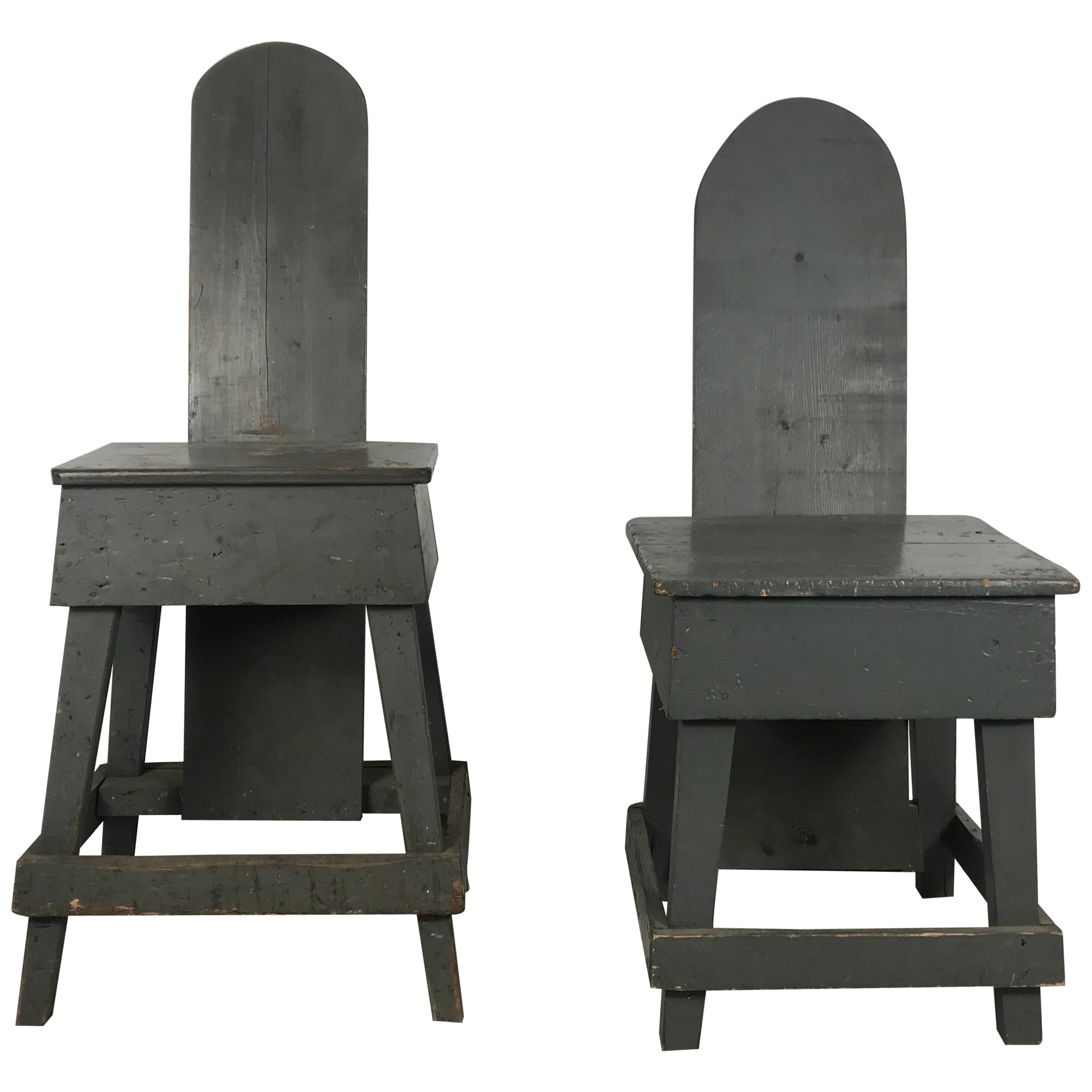"Pair of Industrial Bench Made ""Westport"" Style Factory Task Chairs, 1930s"