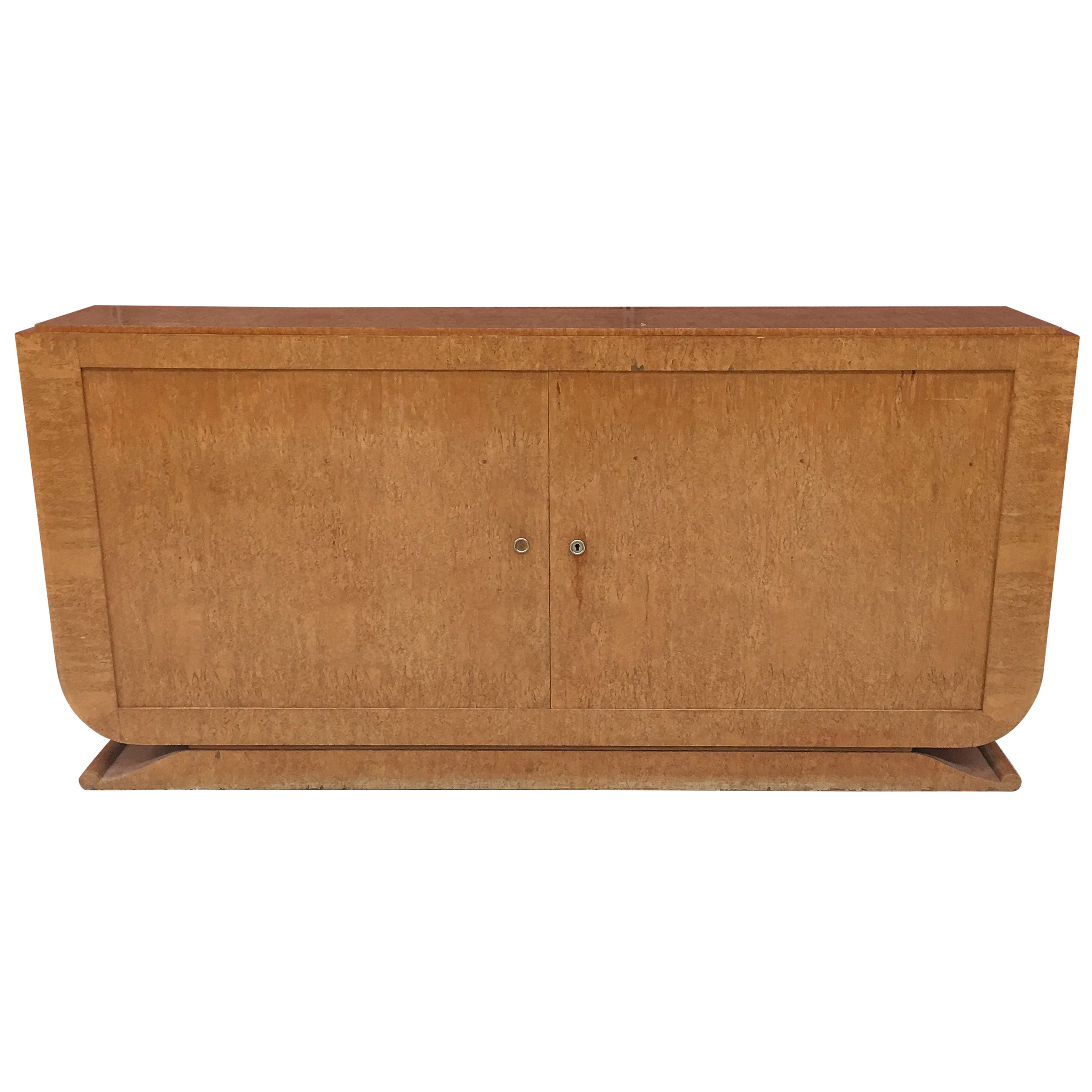 Art Deco Sideboard in Birch Veneer from Norway, circa 1930-1940