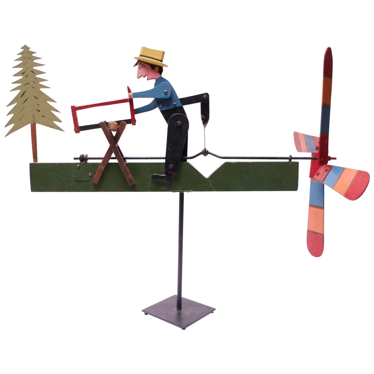 1940s American Folk Art Woodsman / Lumberjack Whirligig