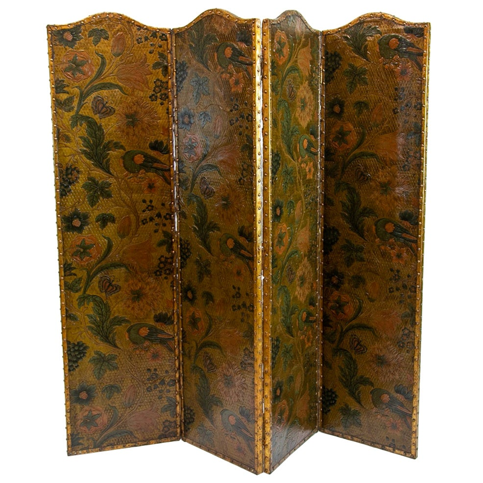Four Panel Embossed Leather Screen