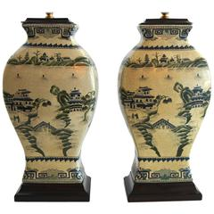 Pair of Celadon Chinoiserie Lamps