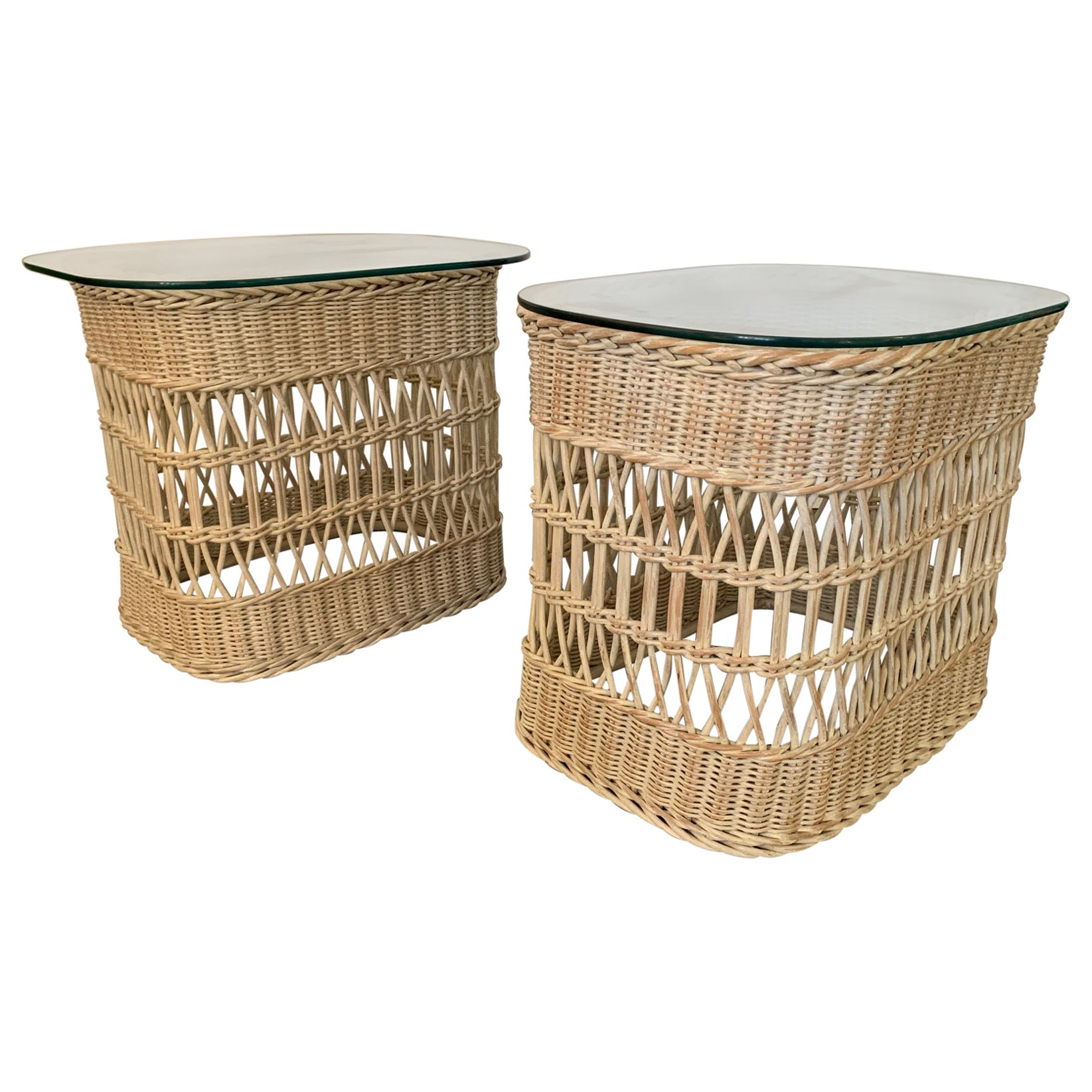 Woven Rattan and Wicker End Tables