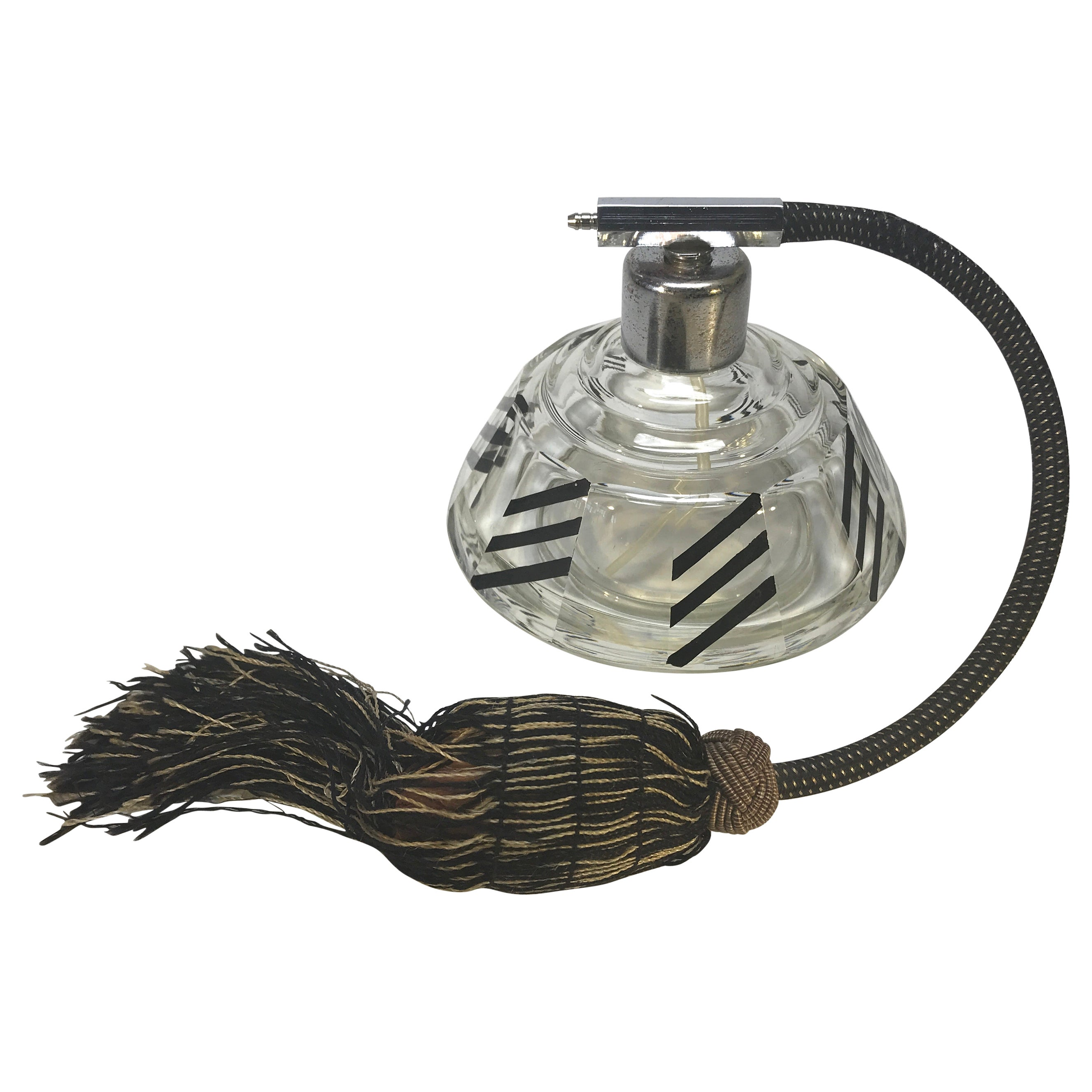 Karl Palda Original, Art Deco Czech Black Enamel Perfume Atomiser Bottle