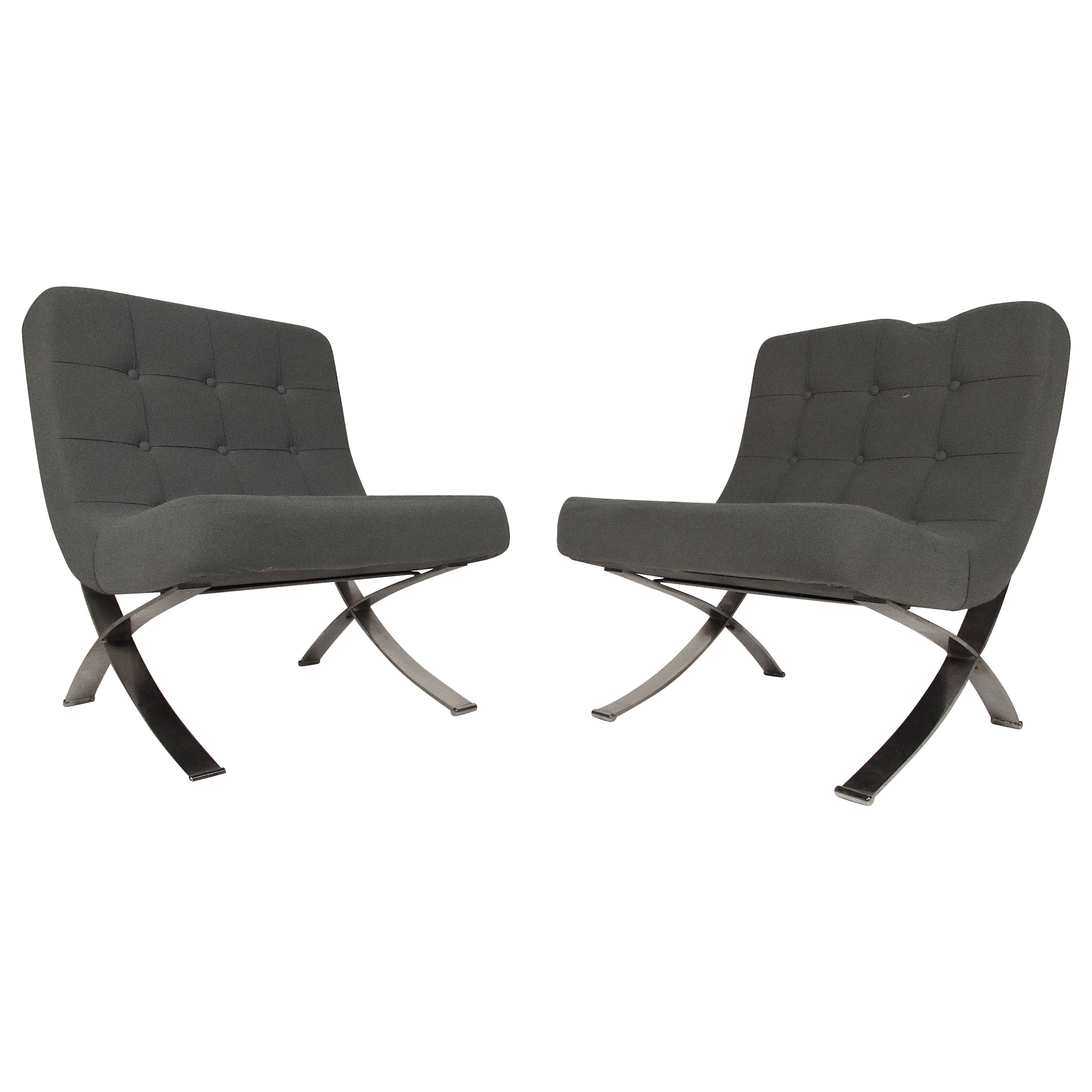 Pair of Vintage Modern Barcelona Style Slipper Lounge Chairs