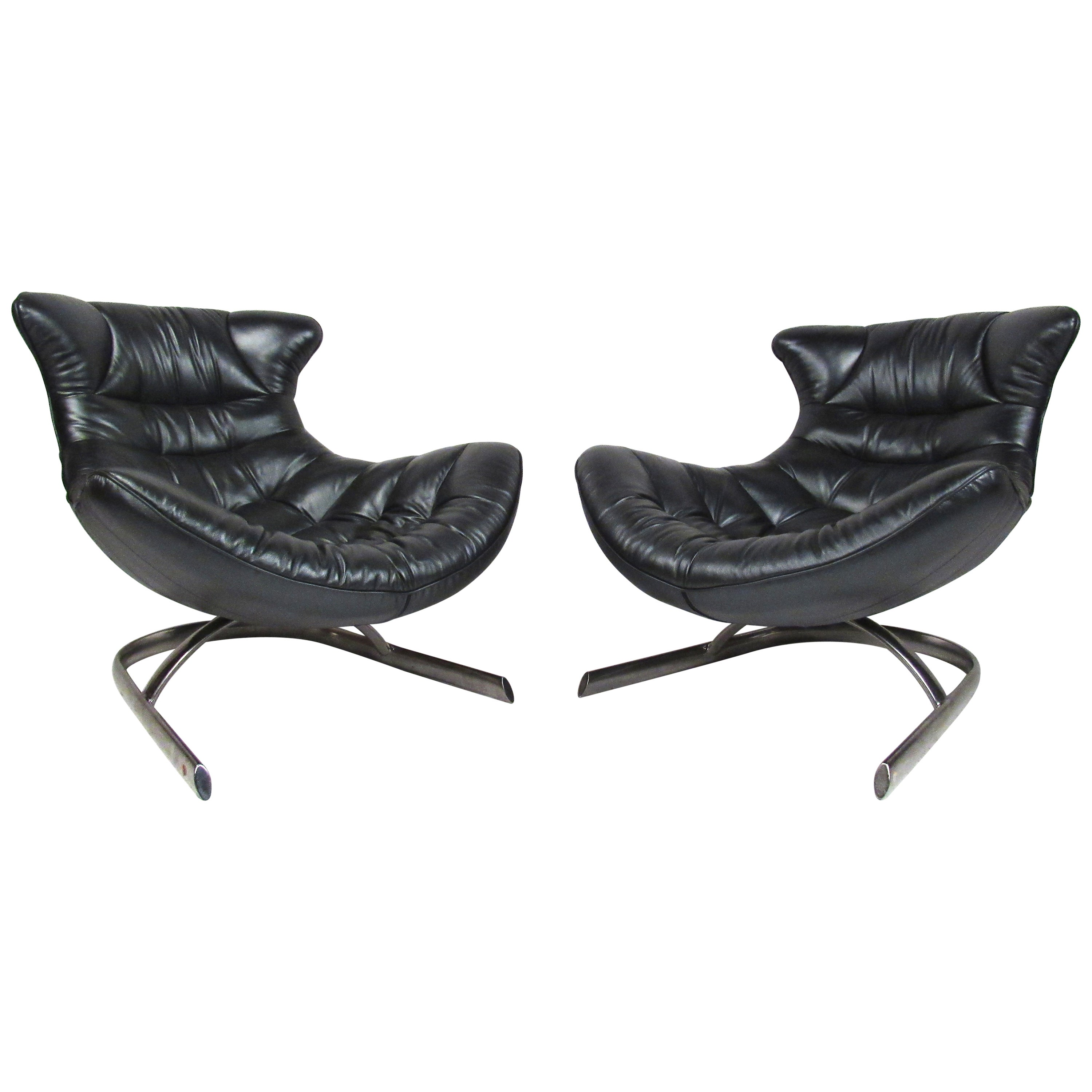 Pair of Modern Style Low Slung Leather Lounge Chairs