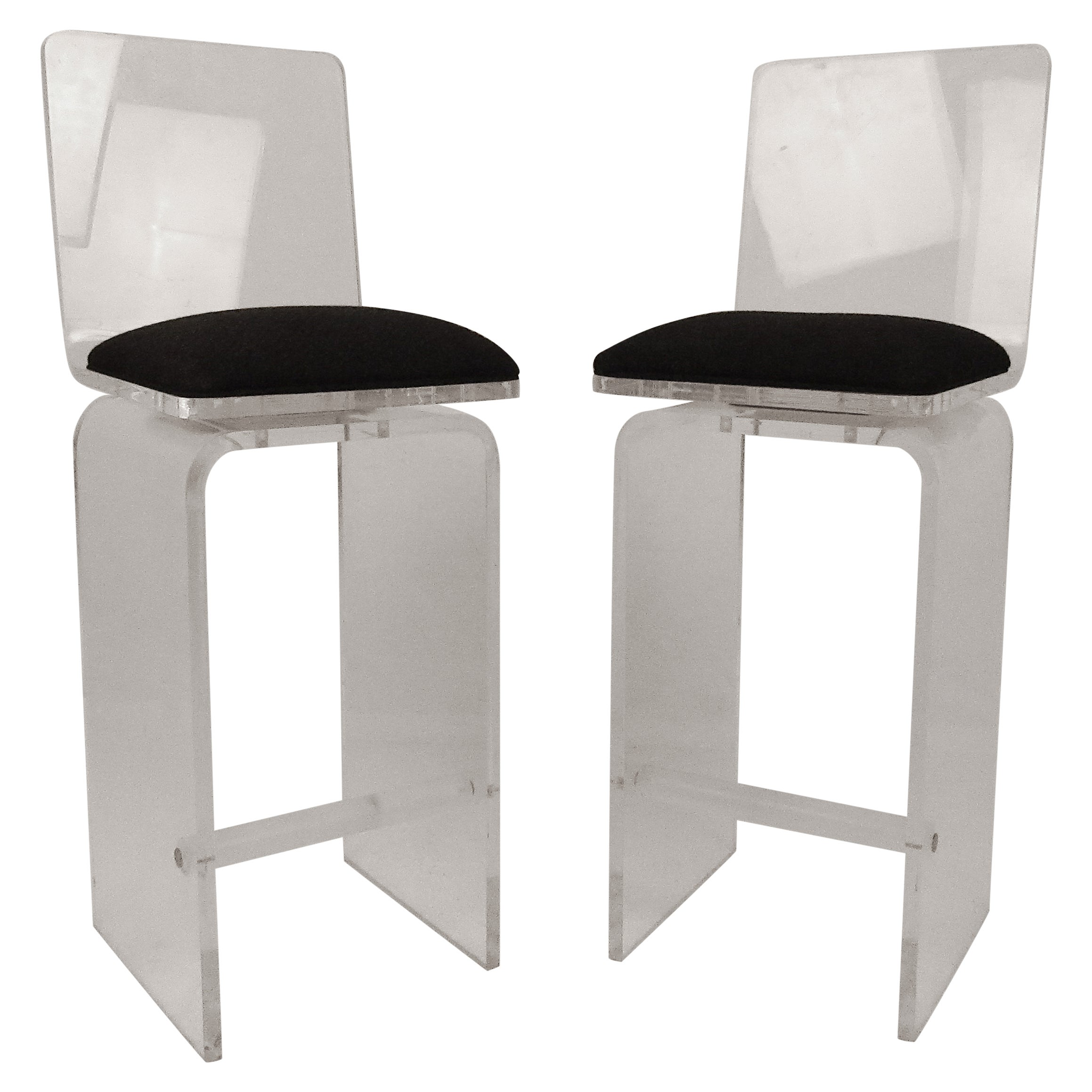 Pair of Vintage 1970s Lucite Swivel Bar Stools