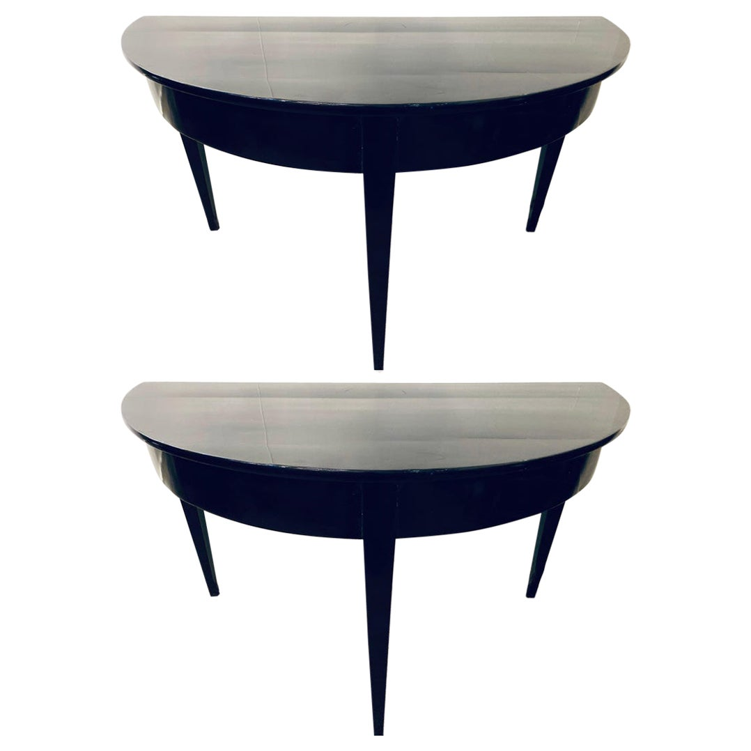 Demilune Ebonized Serving Console or Dining Tables, a Pair