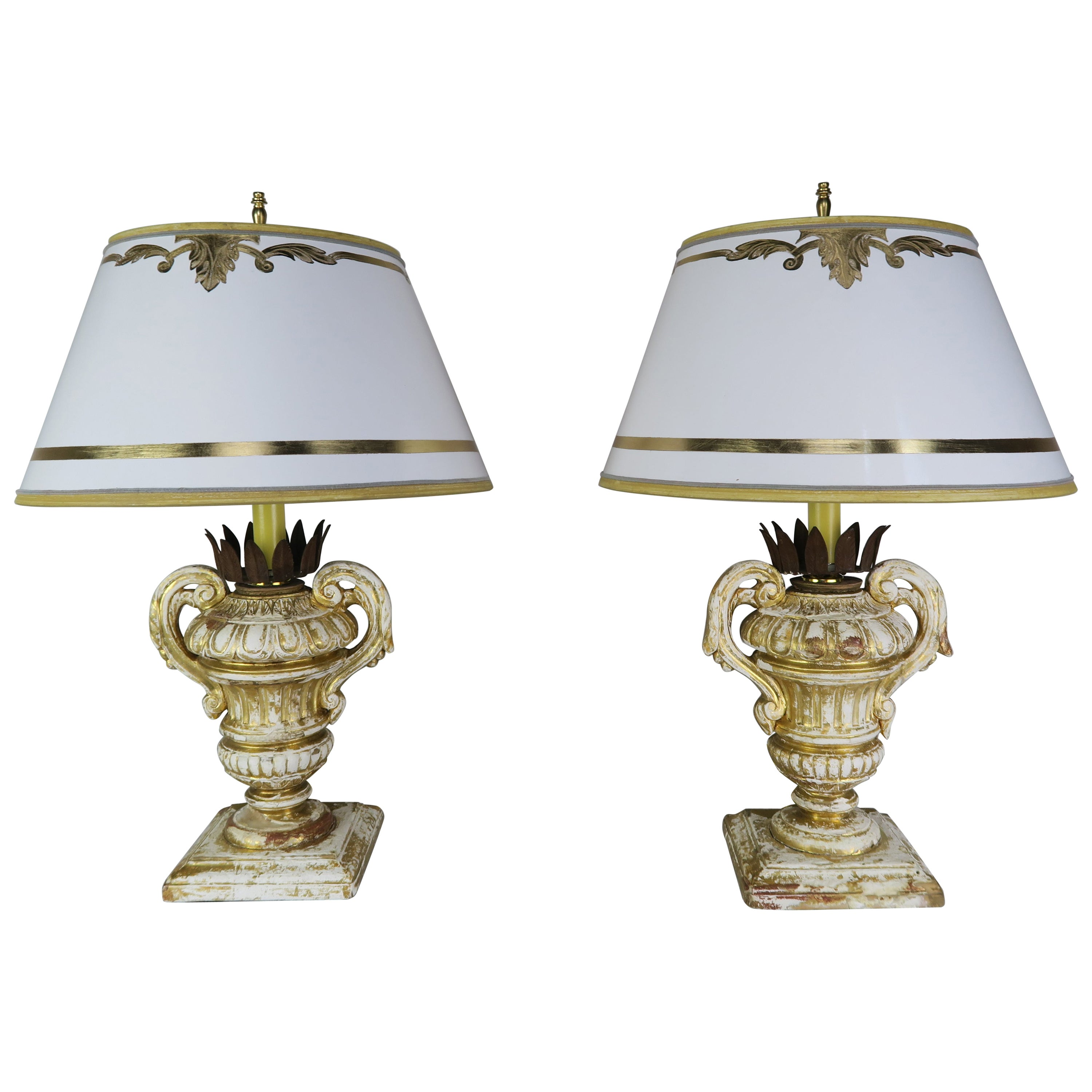 Pair or French Carved Urn Lamps with Parchment Shades
